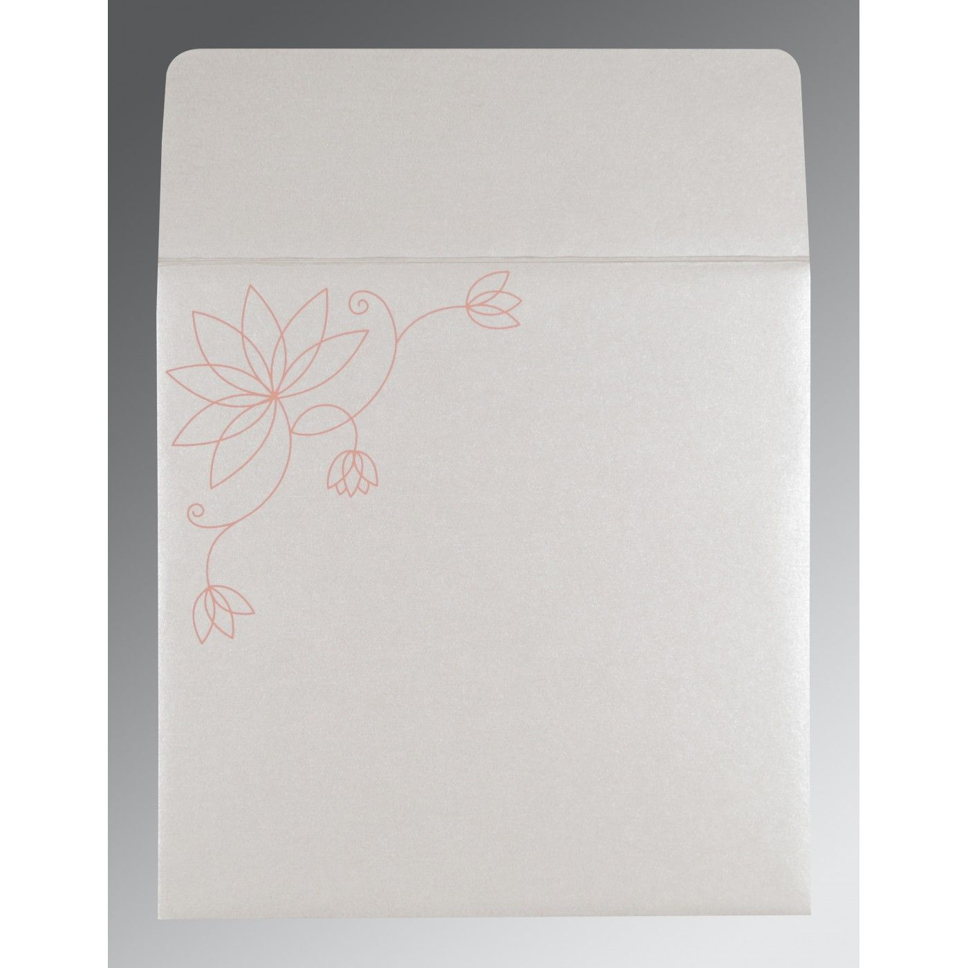 CORAL SHIMMERY FLORAL THEMED - SCREEN PRINTED WEDDING INVITATION : CI-8251I - IndianWeddingCards