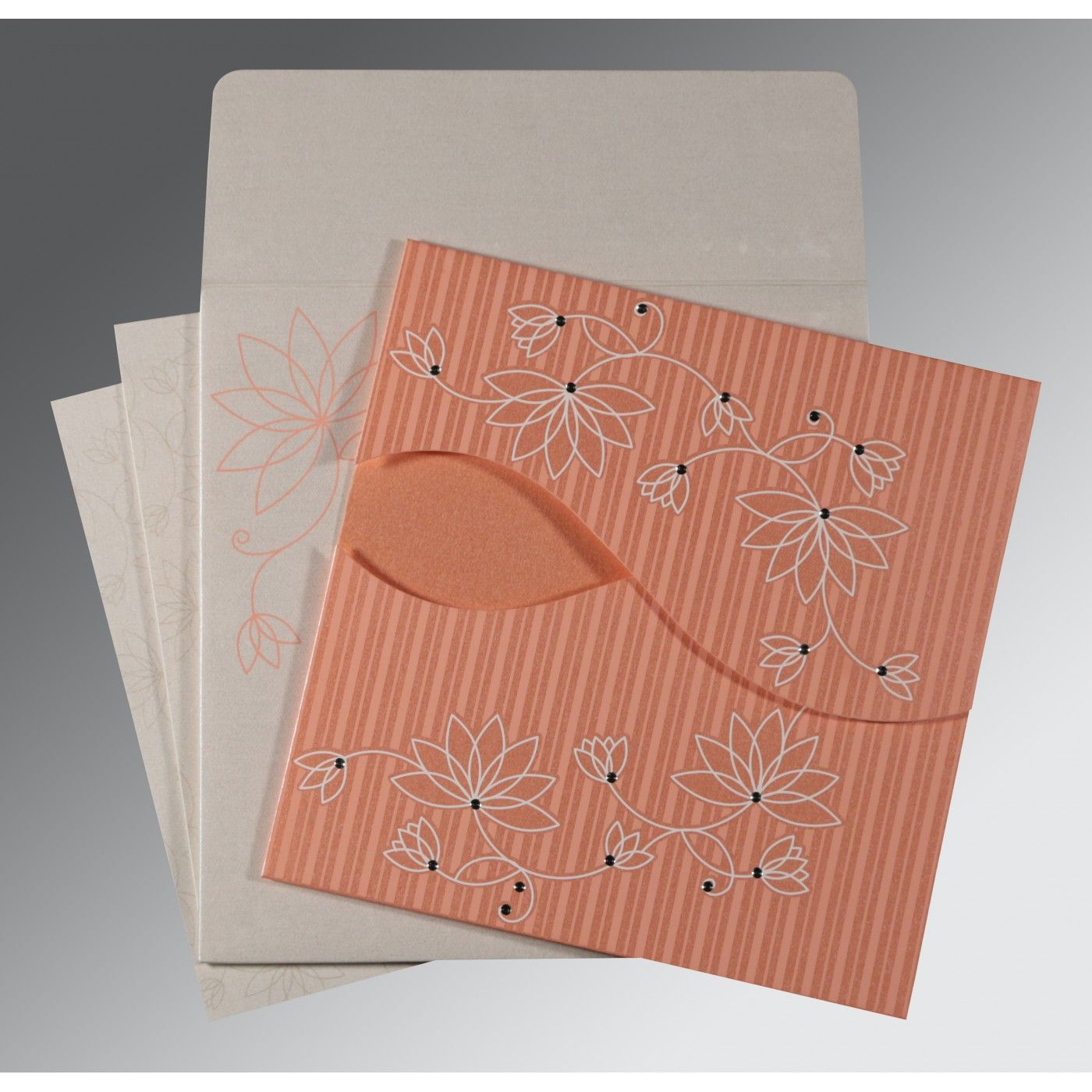 CORAL SHIMMERY FLORAL THEMED - SCREEN PRINTED WEDDING INVITATION : CSO-8251I - IndianWeddingCards