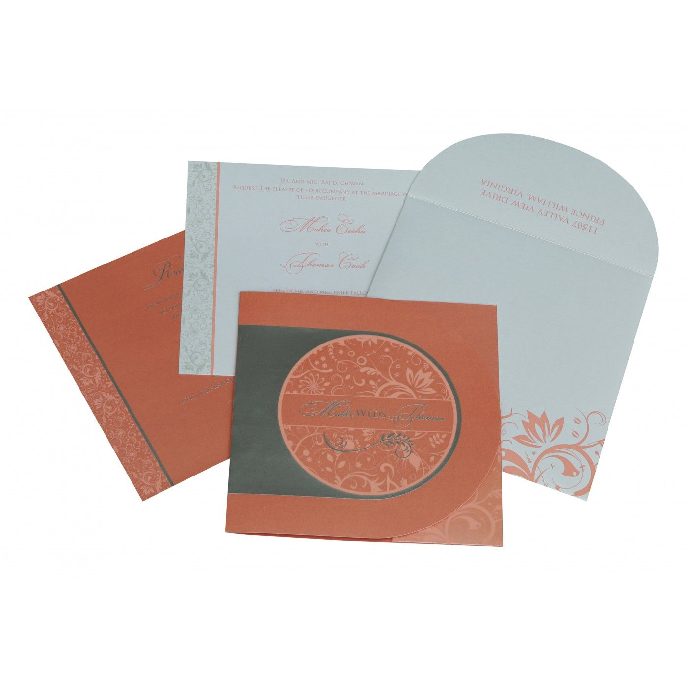 STRONG RED ORANGE SHIMMERY PAISLEY THEMED - SCREEN PRINTED WEDDING CARD : CRU-8264A - IndianWeddingCards