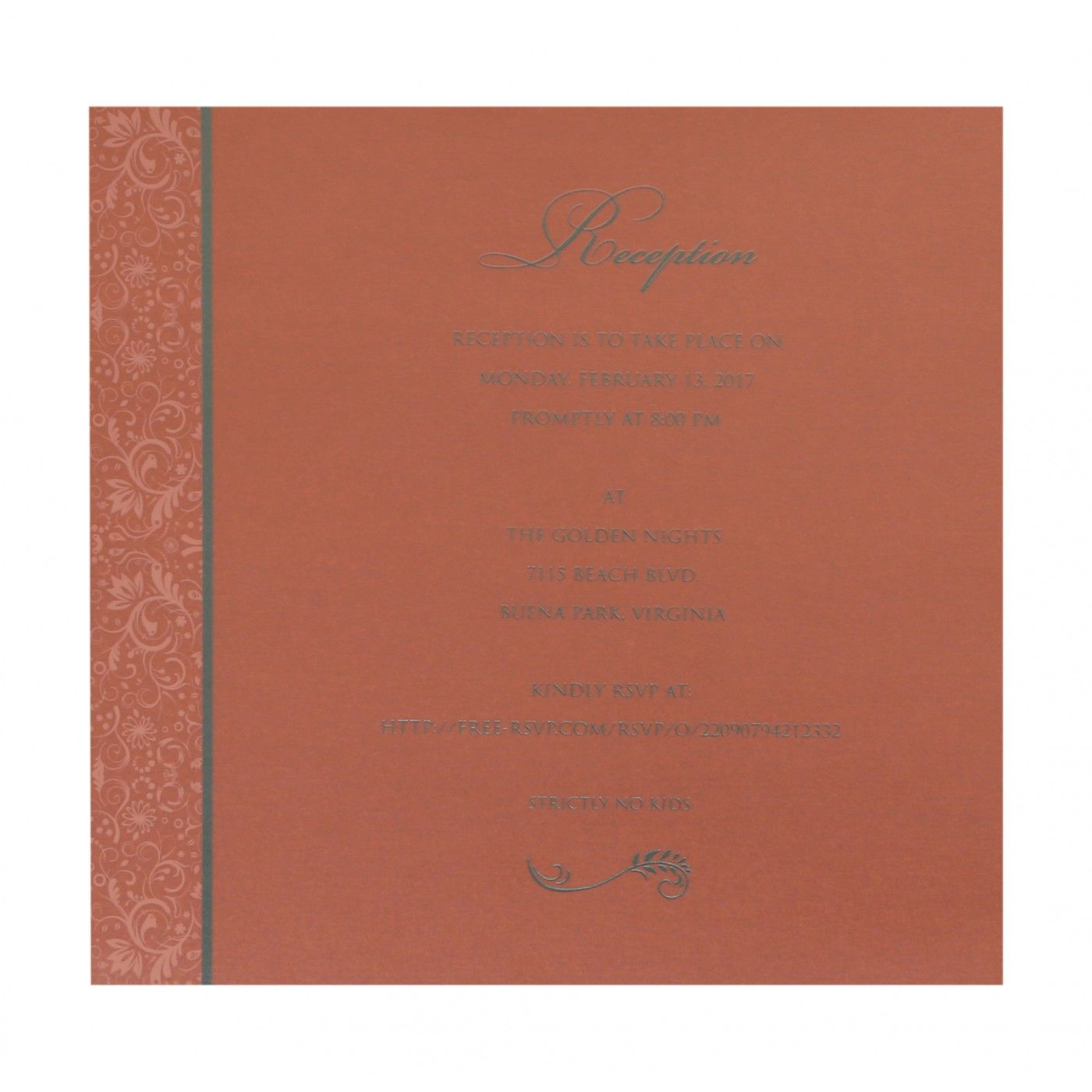 STRONG RED ORANGE SHIMMERY PAISLEY THEMED - SCREEN PRINTED WEDDING CARD : CS-8264A - IndianWeddingCards