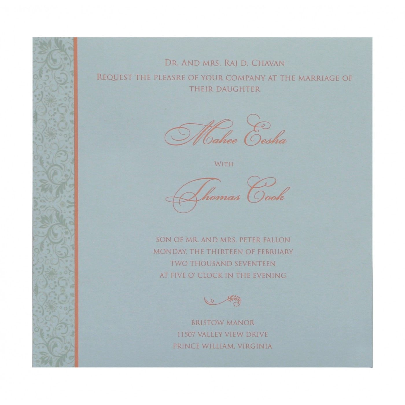 STRONG RED ORANGE SHIMMERY PAISLEY THEMED - SCREEN PRINTED WEDDING CARD : CSO-8264A - IndianWeddingCards
