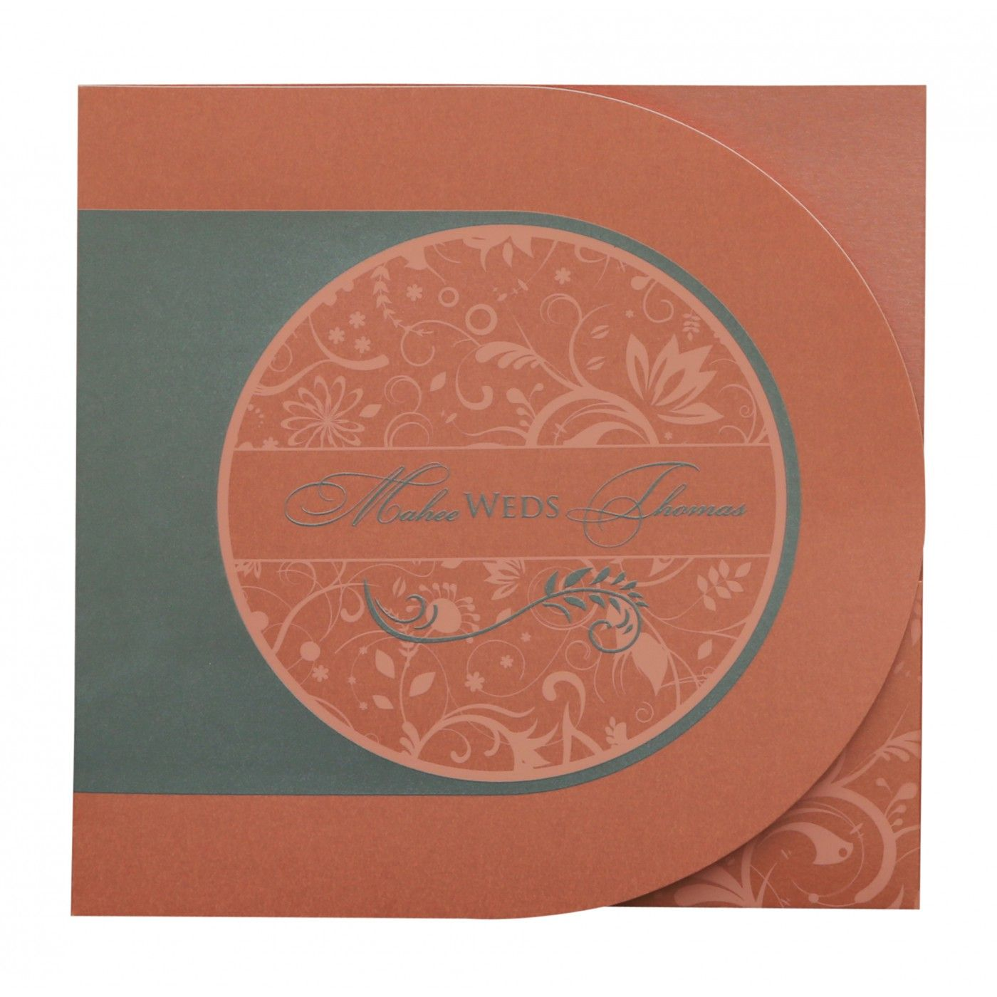 STRONG RED ORANGE SHIMMERY PAISLEY THEMED - SCREEN PRINTED WEDDING CARD : CW-8264A - IndianWeddingCards