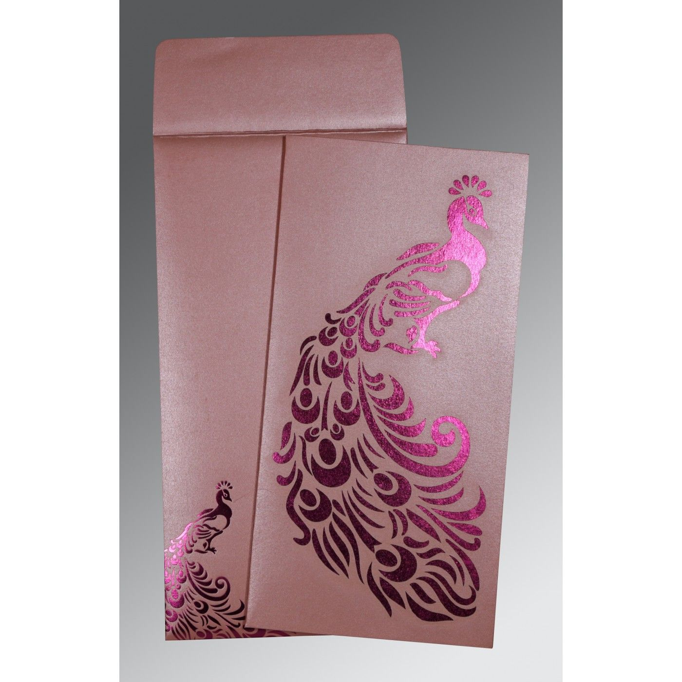 WATERMELON SHIMMERY PEACOCK THEMED - LASER CUT WEDDING INVITATION : CW-8255B - IndianWeddingCards