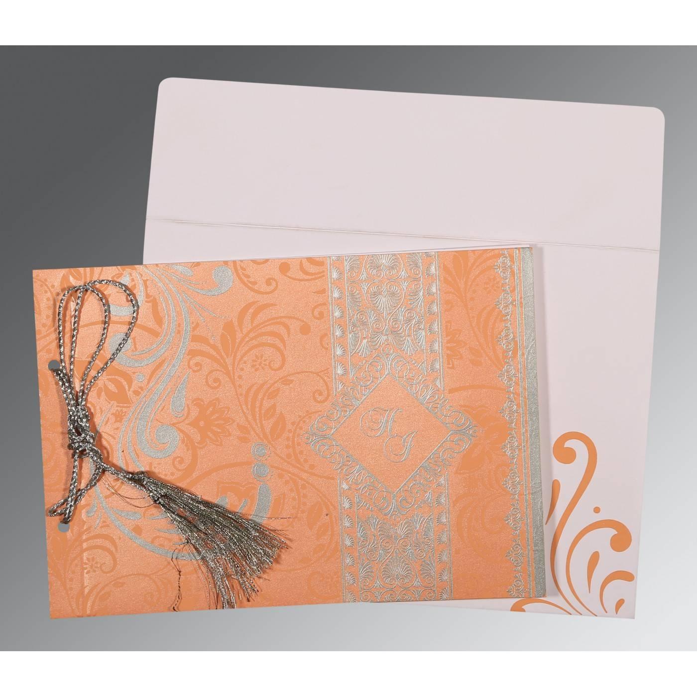 SWEET NECTAR SHIMMERY SCREEN PRINTED WEDDING CARD : CG-8223N - IndianWeddingCards