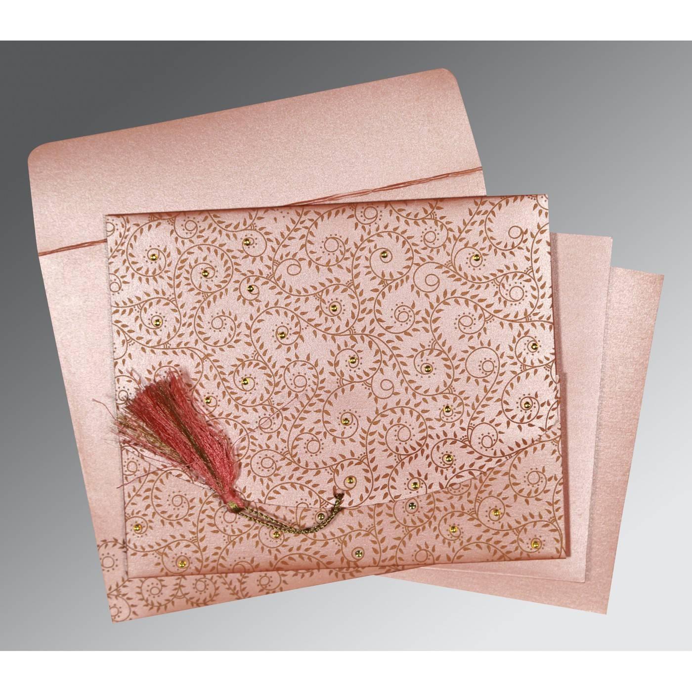 BABY PINK SHIMMERY SCREEN PRINTED WEDDING INVITATION : CRU-8217N - IndianWeddingCards