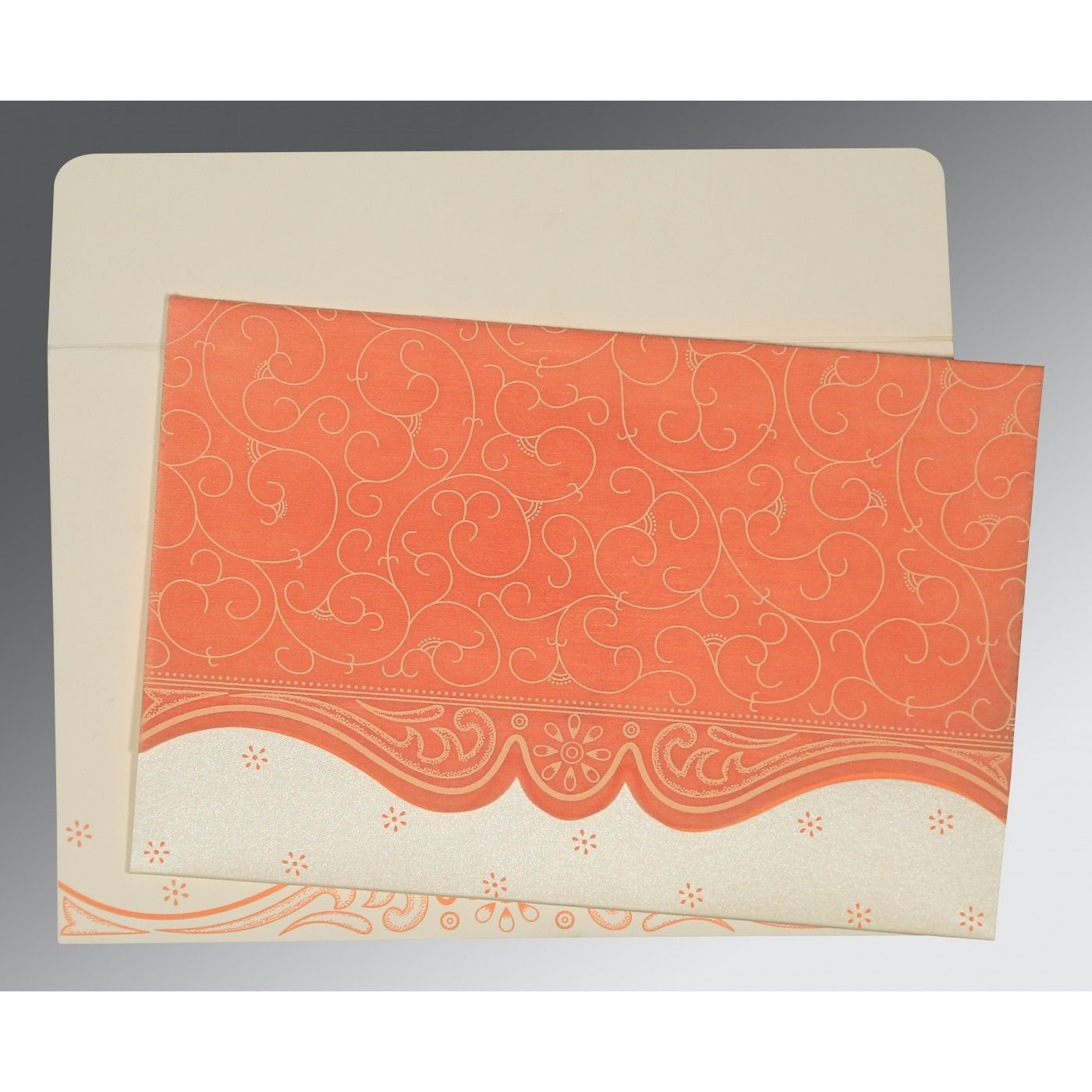PEACH MATTE EMBOSSED WEDDING INVITATION : CRU-8221B - IndianWeddingCards