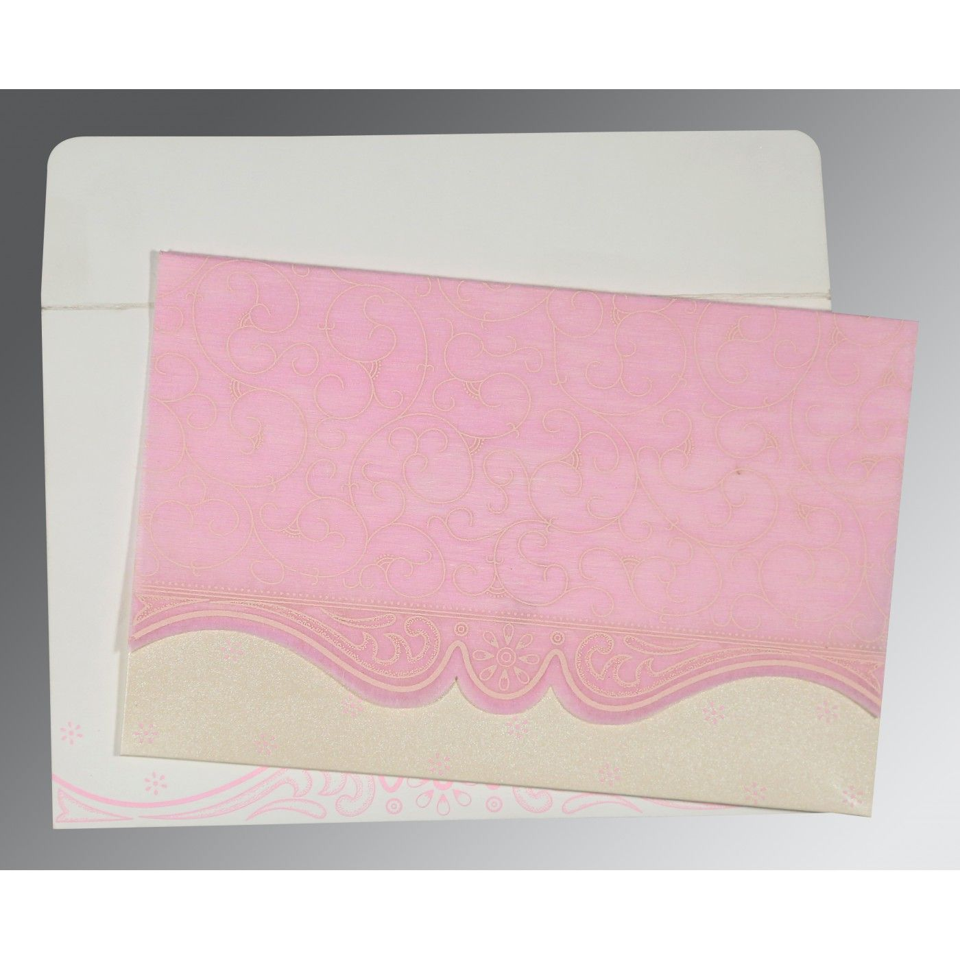 PINK MATTE EMBOSSED WEDDING INVITATION : CSO-8221M - IndianWeddingCards