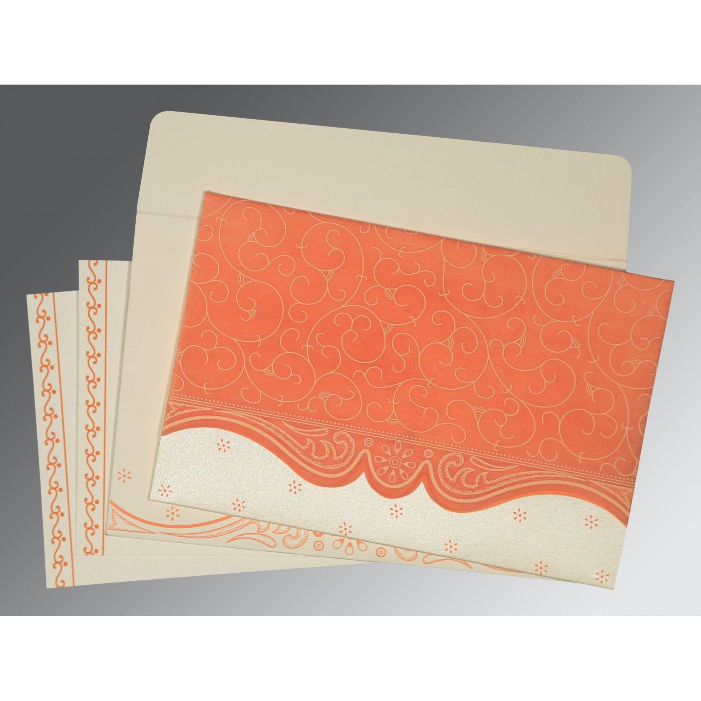 PEACH MATTE EMBOSSED WEDDING INVITATION : CW-8221B - IndianWeddingCards