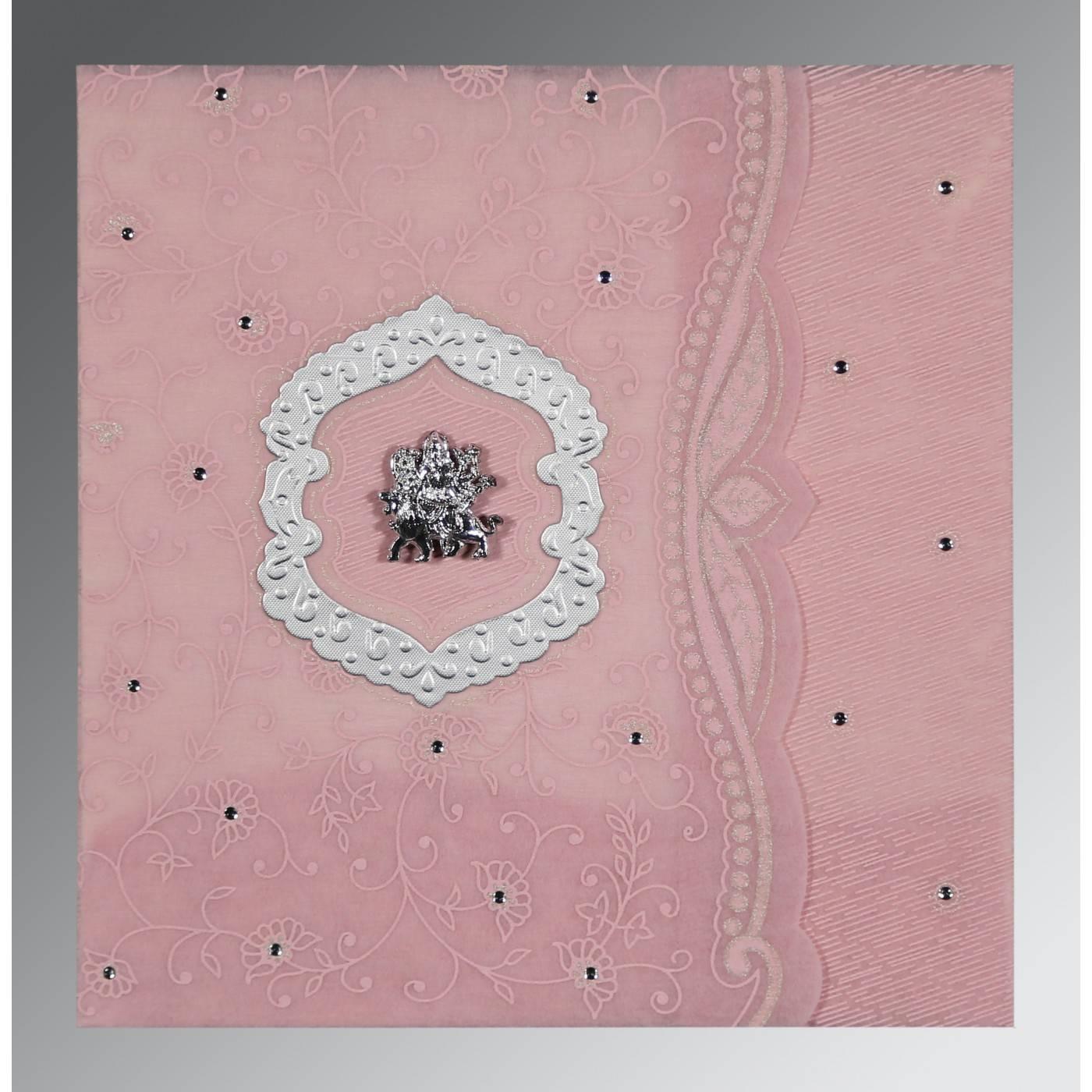 AZALEA PINK SHIMMERY FLORAL THEMED - EMBOSSED WEDDING CARD : CG-8209H - IndianWeddingCards
