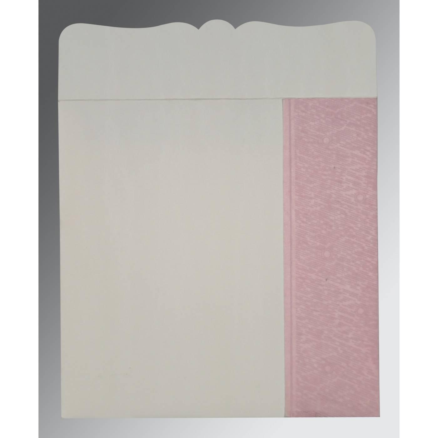 AZALEA PINK SHIMMERY FLORAL THEMED - EMBOSSED WEDDING CARD : CIN-8209H - IndianWeddingCards