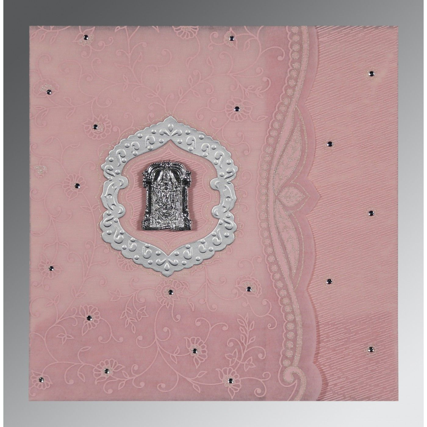 AZALEA PINK SHIMMERY FLORAL THEMED - EMBOSSED WEDDING CARD : CSO-8209H - IndianWeddingCards