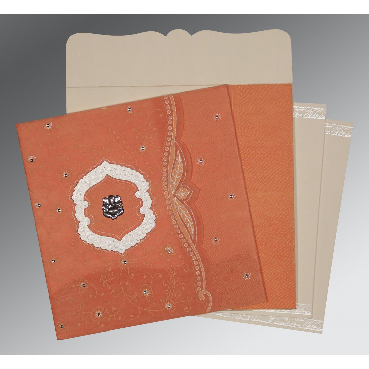 ORANGE SHIMMERY FLORAL THEMED - EMBOSSED WEDDING CARD : CW-8209A - IndianWeddingCards