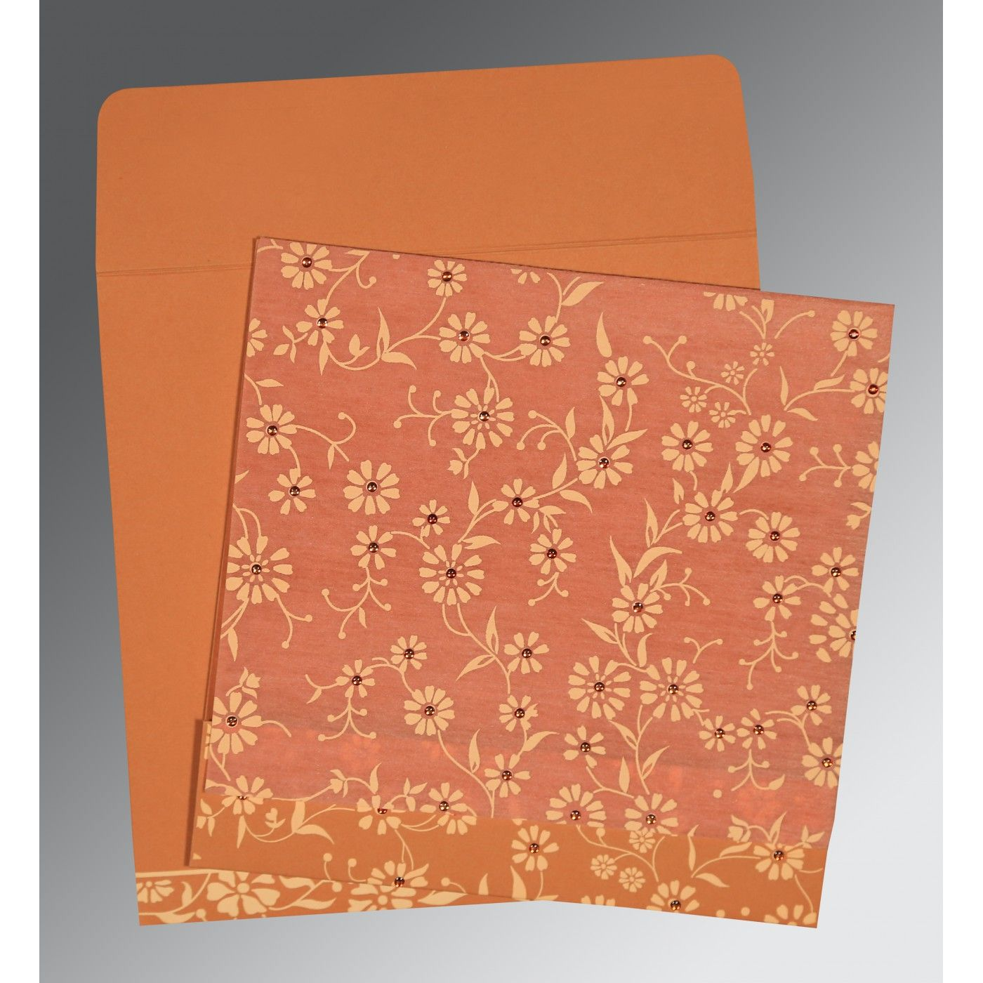 PEACH MATTE FLORAL THEMED - SCREEN PRINTED WEDDING CARD : CRU-8222P - IndianWeddingCards