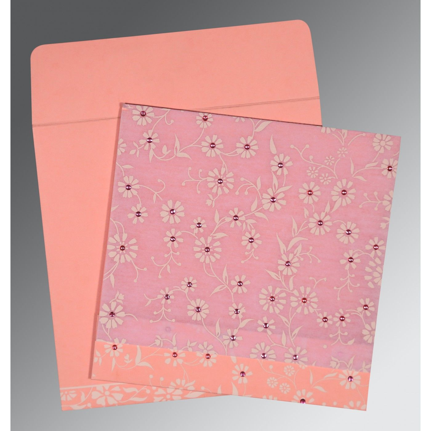 PINK MATTE FLORAL THEMED - SCREEN PRINTED WEDDING CARD : CS-8222E - IndianWeddingCards