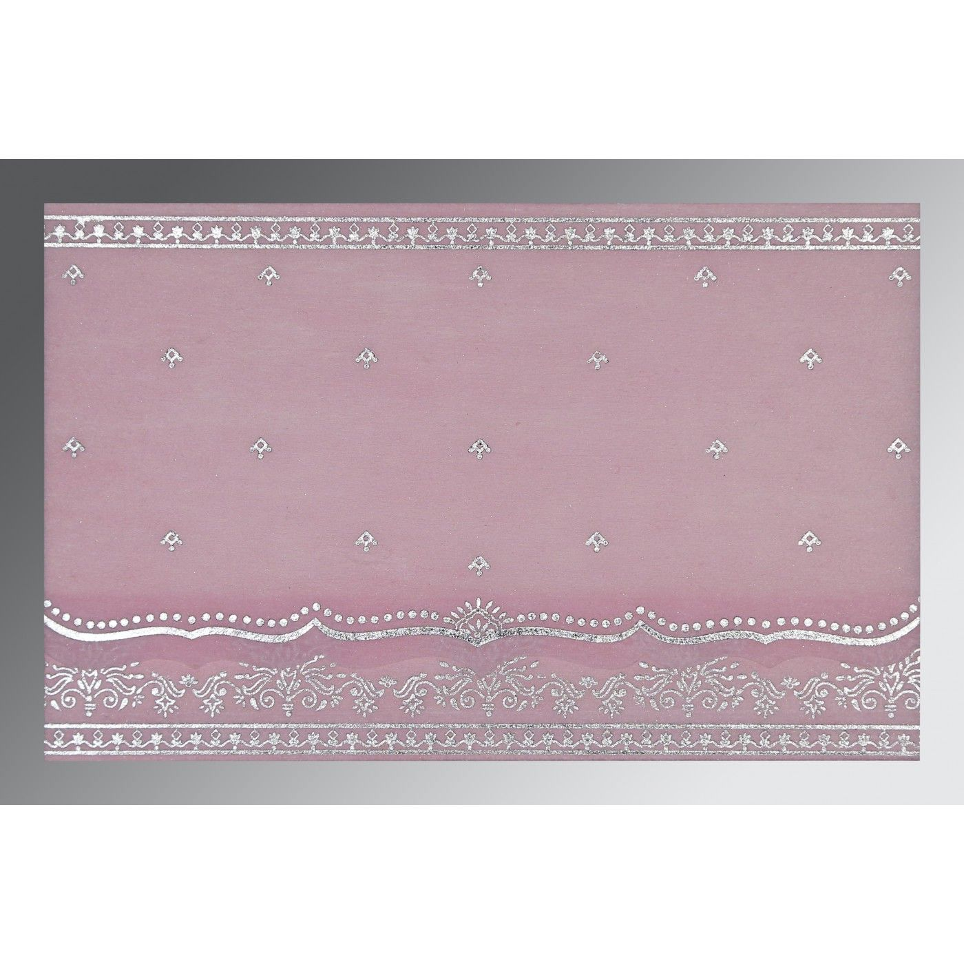 BABY PINK WOOLY FOIL STAMPED WEDDING INVITATION : CG-8241E - IndianWeddingCards