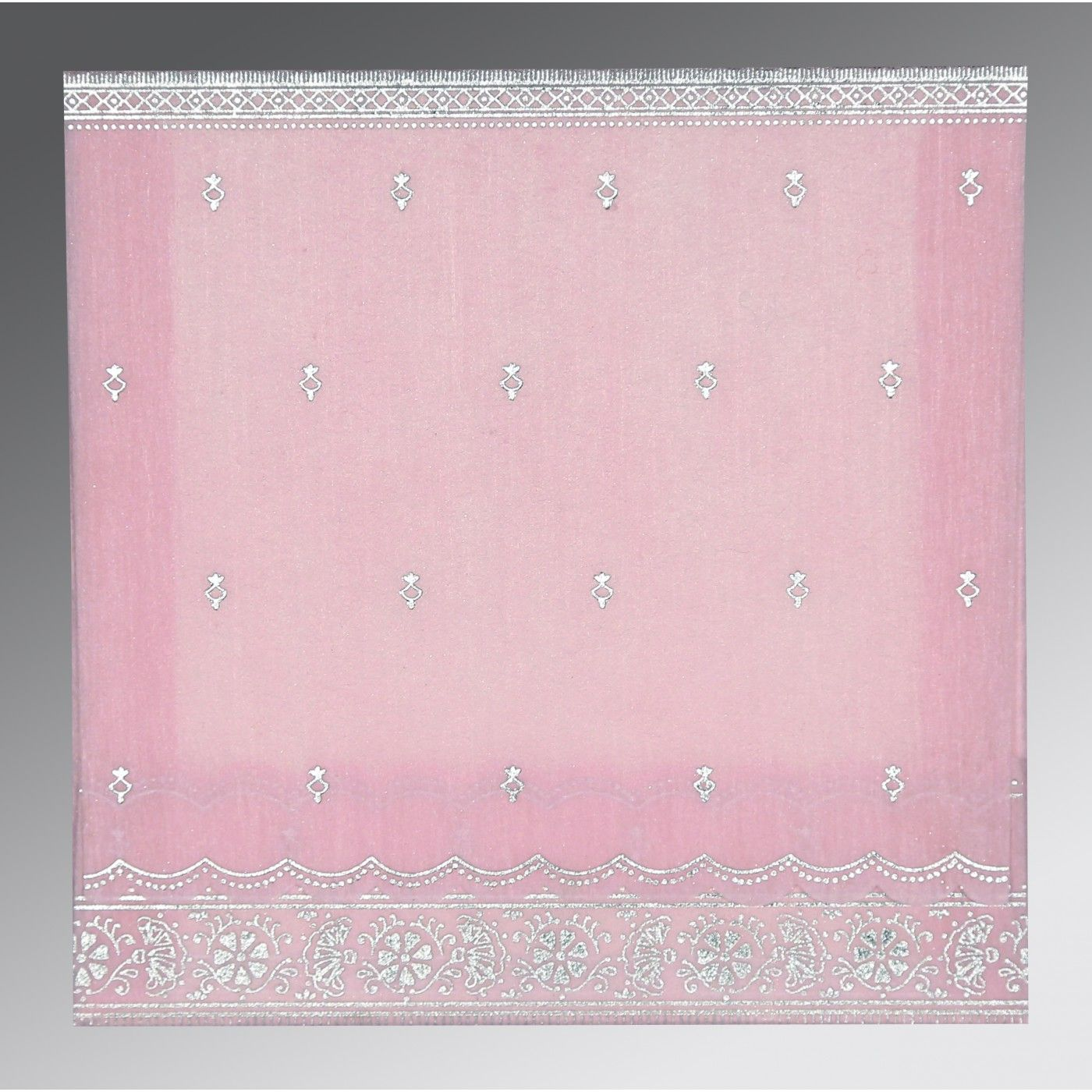 BABY PINK WOOLY FOIL STAMPED WEDDING CARD : CI-8242N - IndianWeddingCards