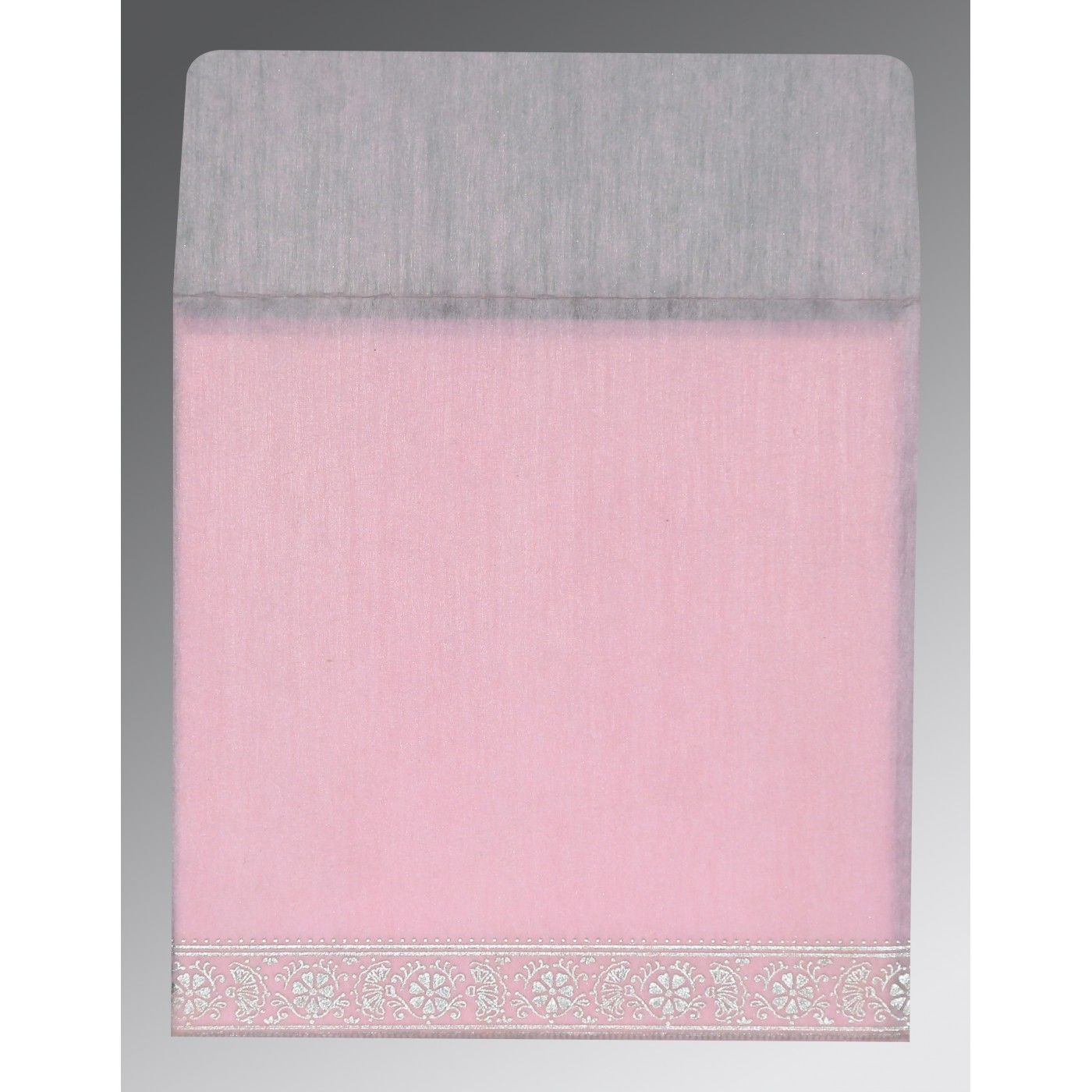 BABY PINK WOOLY FOIL STAMPED WEDDING CARD : CIN-8242N - IndianWeddingCards