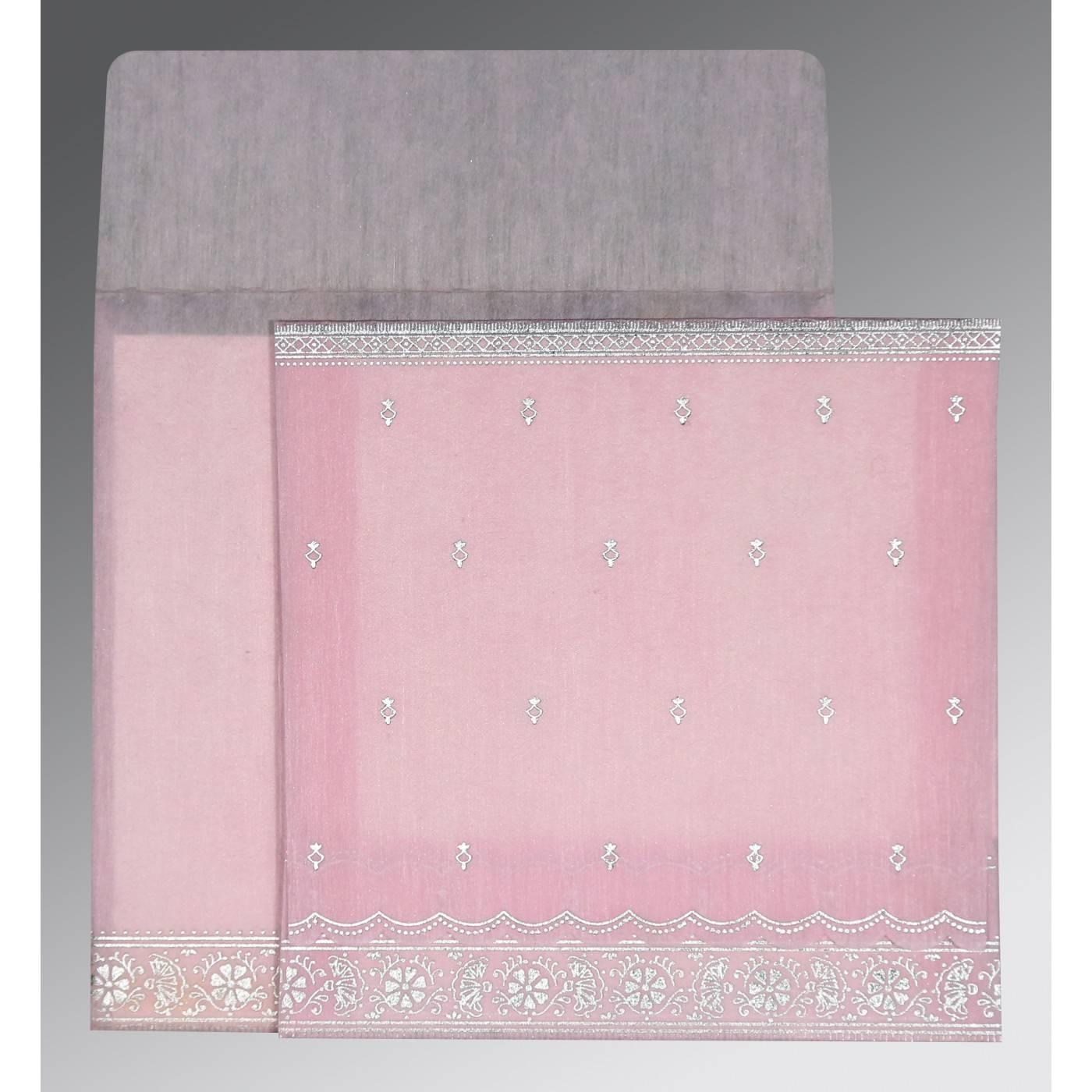 BABY PINK WOOLY FOIL STAMPED WEDDING CARD : CIN-8242N - IndianWeddingCards