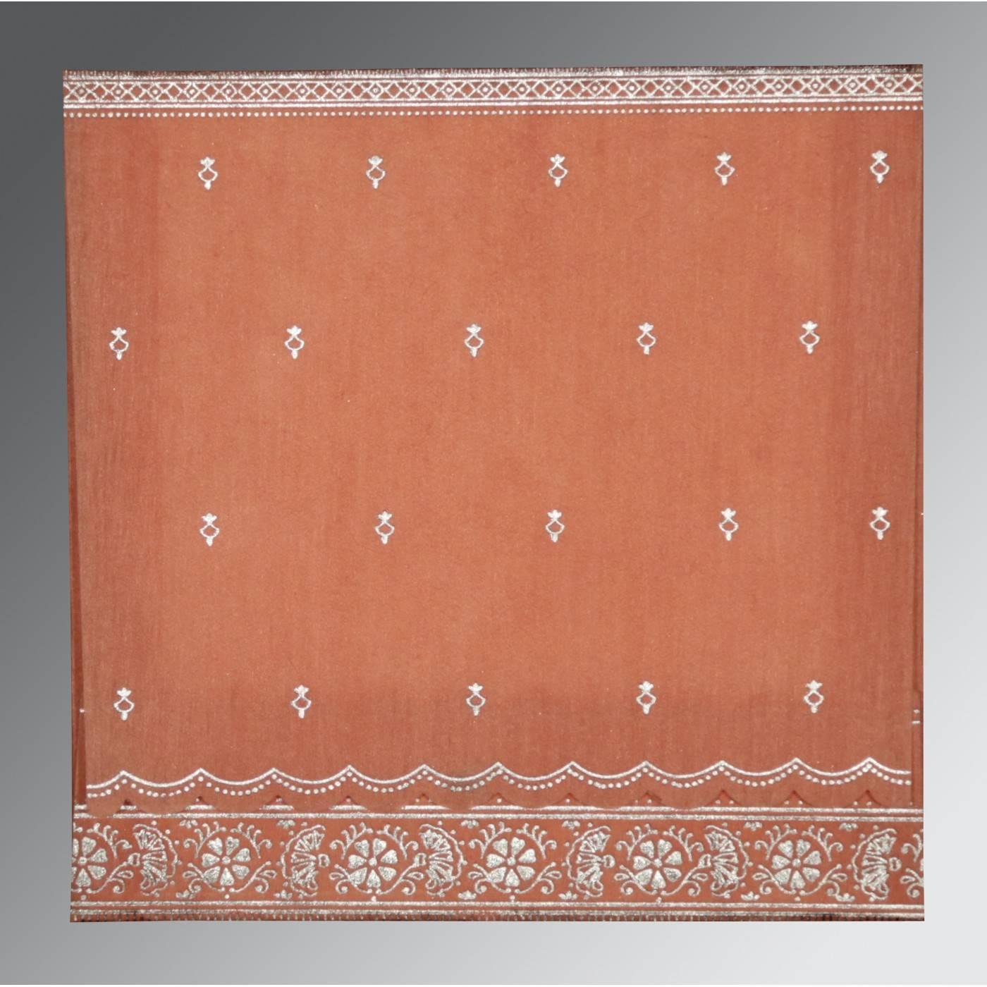 CORAL WOOLY FOIL STAMPED WEDDING CARD : CRU-8242L - IndianWeddingCards