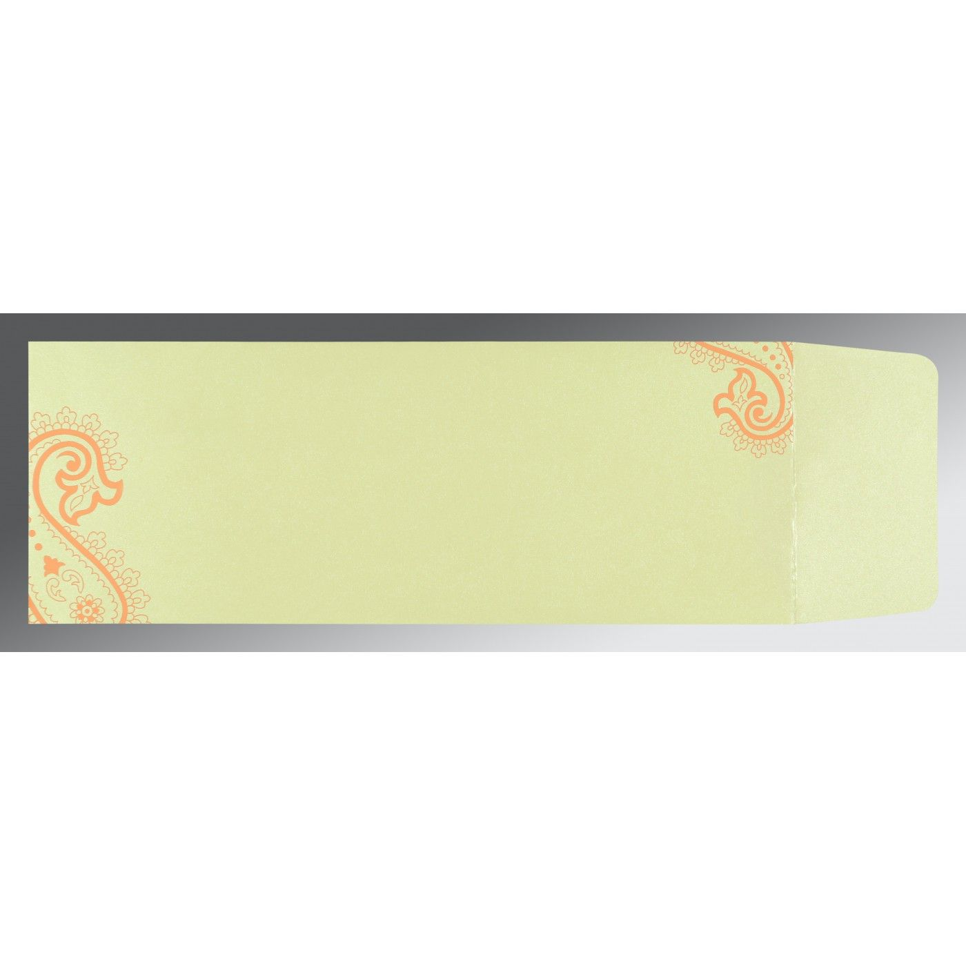 SALMON WOOLY FOIL STAMPED WEDDING CARD : CSC-5015B - IndianWeddingCards
