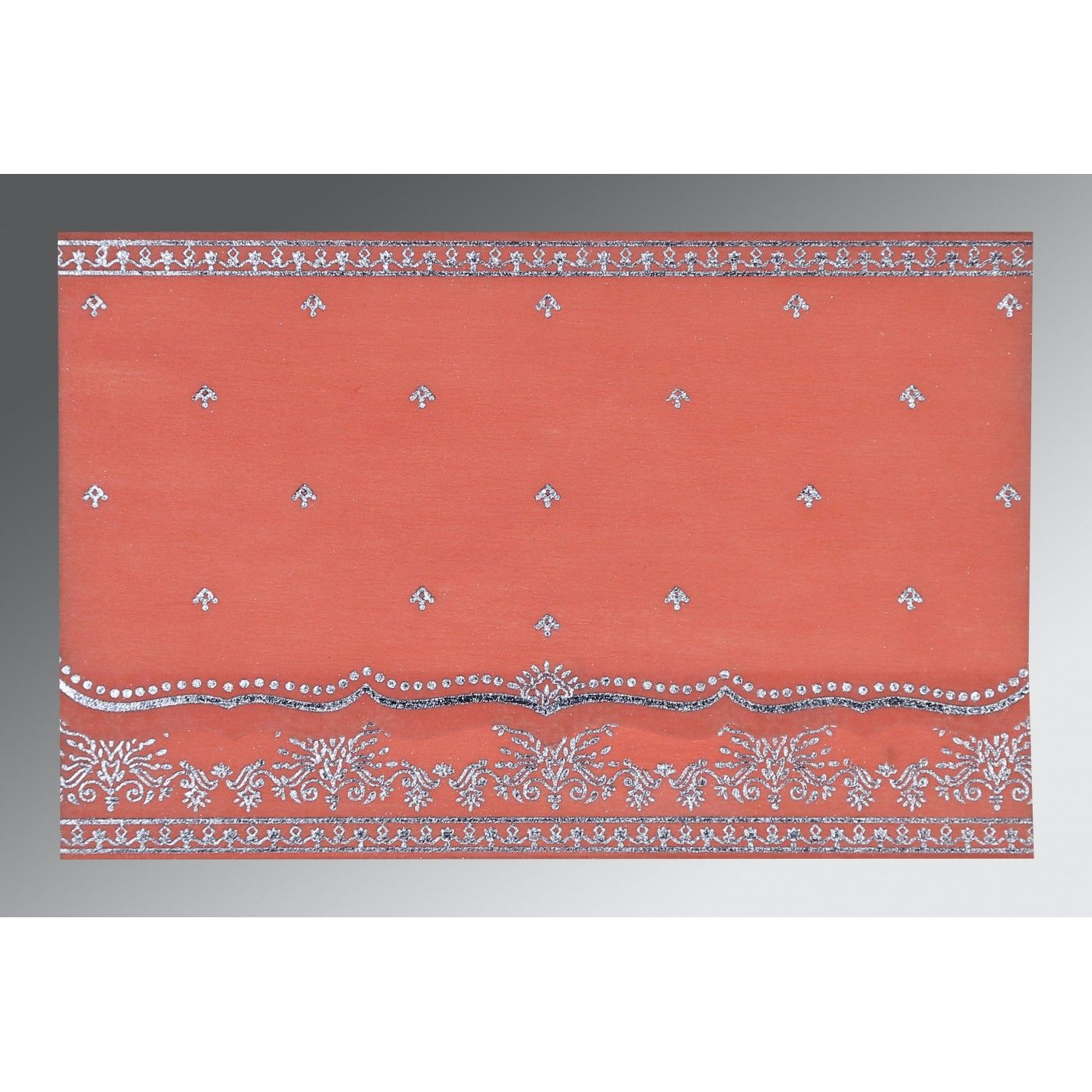 CORAL WOOLY FOIL STAMPED WEDDING INVITATION : CSO-8241G - IndianWeddingCards