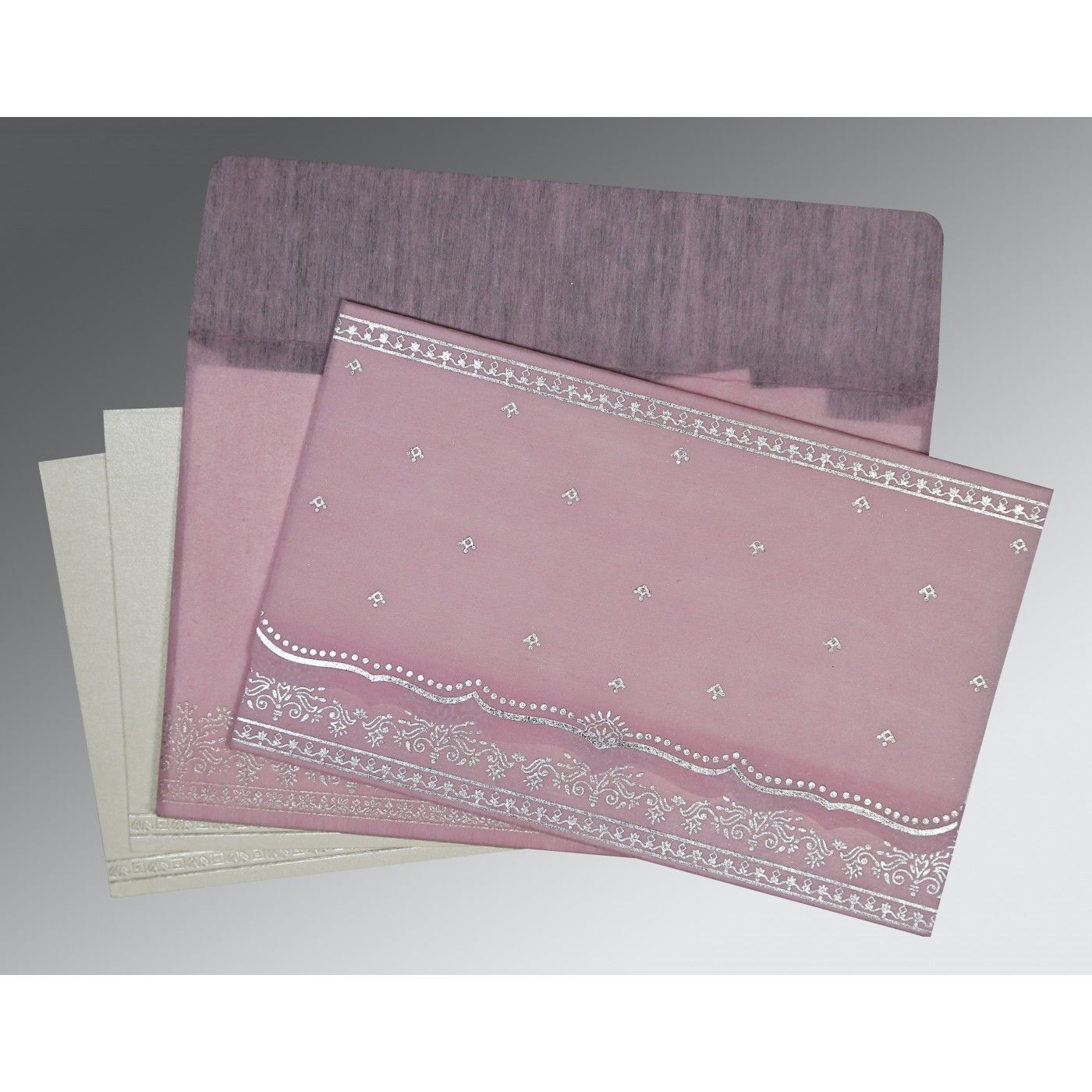 BABY PINK WOOLY FOIL STAMPED WEDDING INVITATION : CW-8241E - IndianWeddingCards