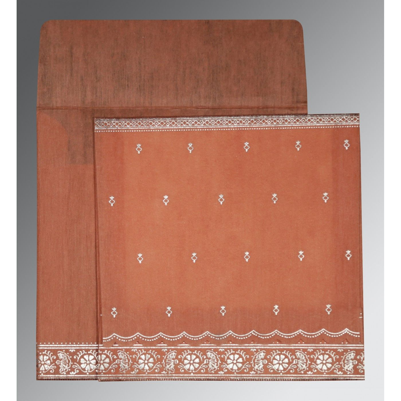 CORAL WOOLY FOIL STAMPED WEDDING CARD : CW-8242L - IndianWeddingCards