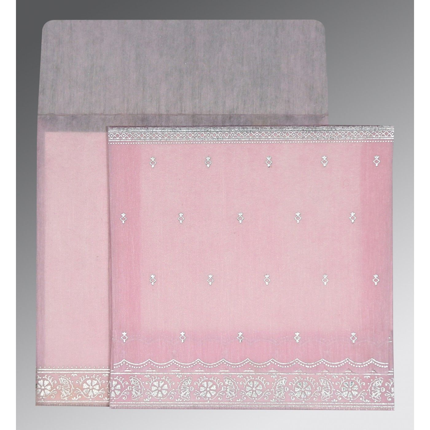 BABY PINK WOOLY FOIL STAMPED WEDDING CARD : CW-8242N - IndianWeddingCards
