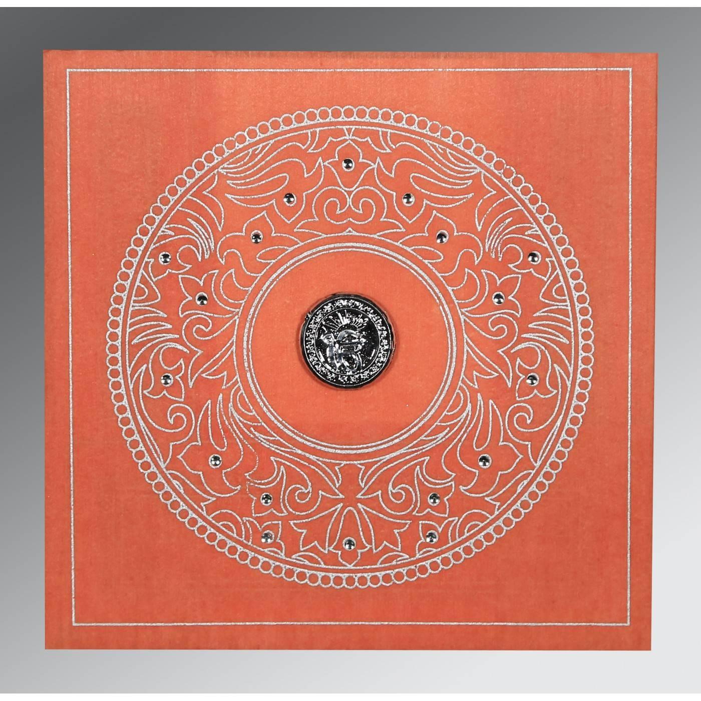 AZALEA PINK WOOLY SCREEN PRINTED WEDDING CARD : CS-8214M - IndianWeddingCards