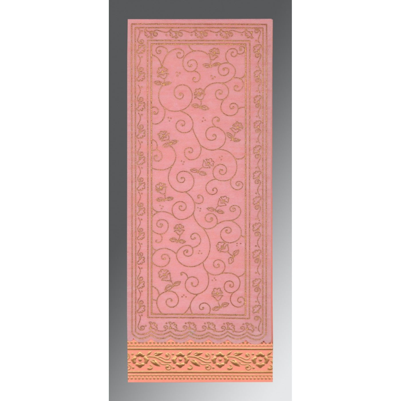 BLUSH PINK WOOLY SCREEN PRINTED WEDDING INVITATION : CSO-8220J - IndianWeddingCards