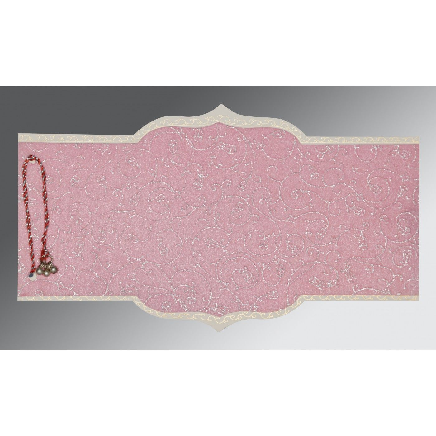 AZALEA PINK WOOLY GLITTER WEDDING CARD : CD-1351 - IndianWeddingCards