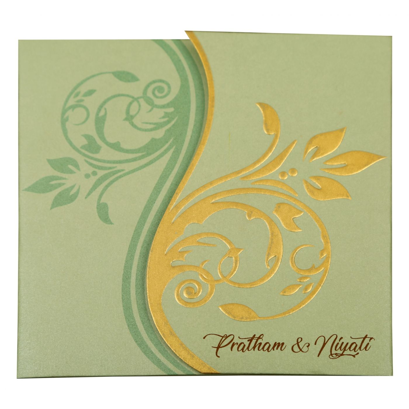 PISTA GREEN SHIMMERY FLORAL THEMED - EMBOSSED WEDDING INVITATION : CS-1901 - IndianWeddingCards