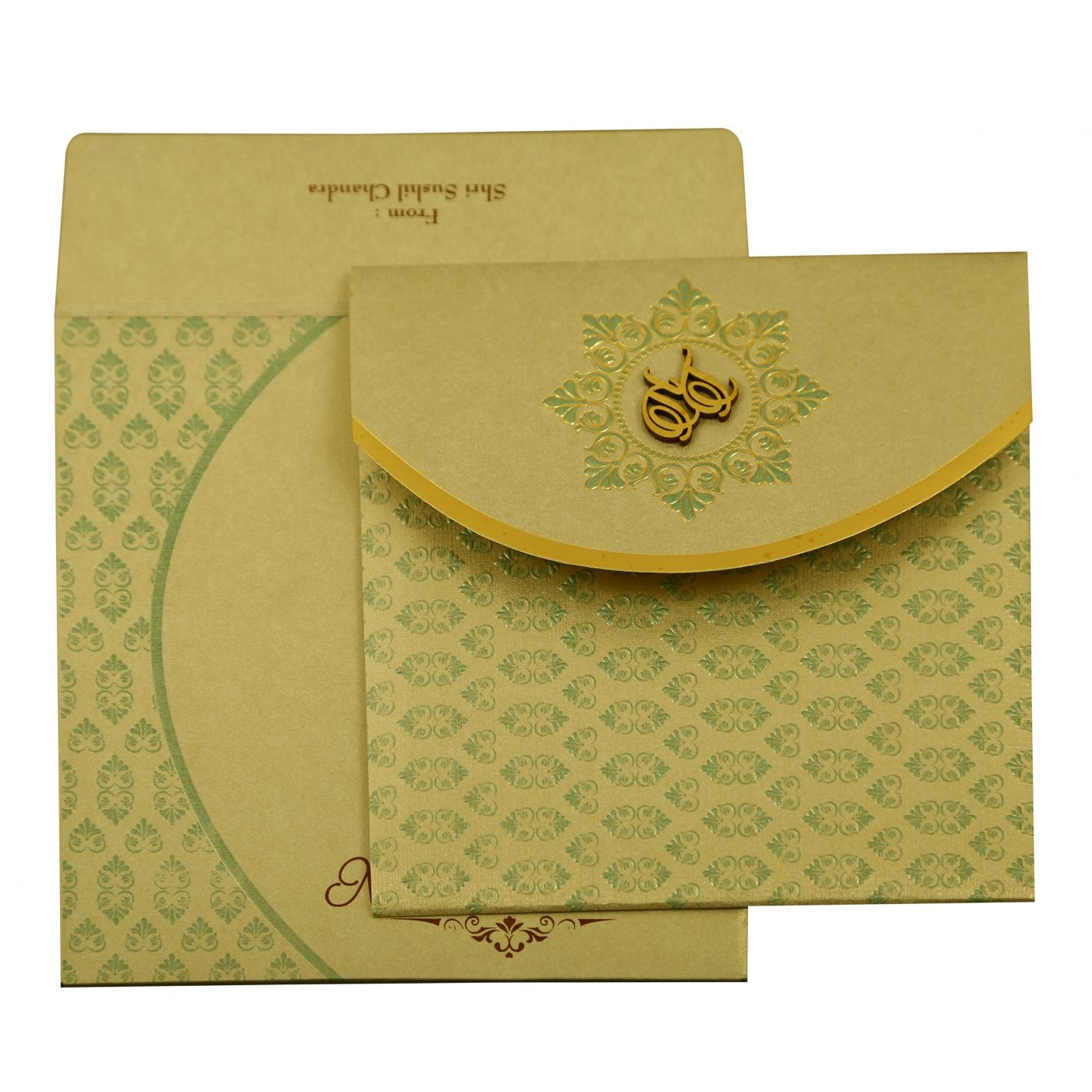 PISTA GREEN SHIMMERY FLORAL THEMED - FOIL STAMPED WEDDING INVITATION : CD-1915 - IndianWeddingCards