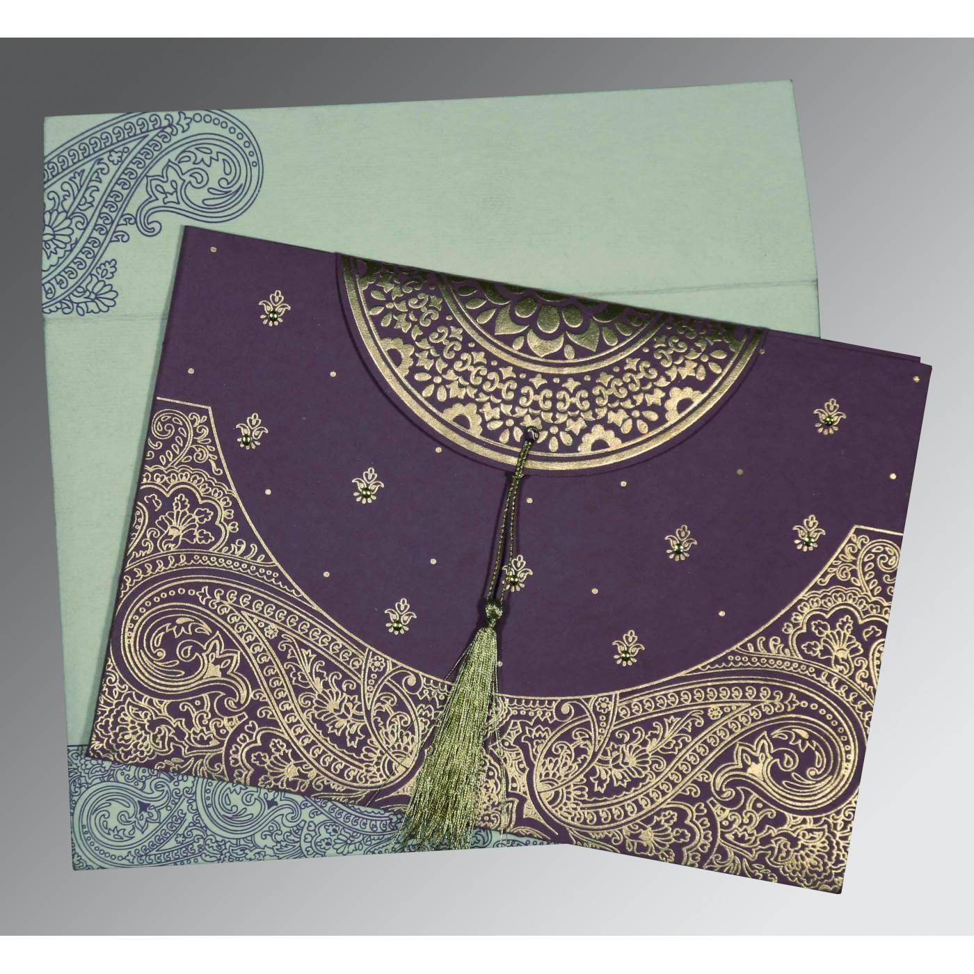 PURPLE HANDMADE COTTON EMBOSSED WEDDING CARD : CIN-8234D - IndianWeddingCards