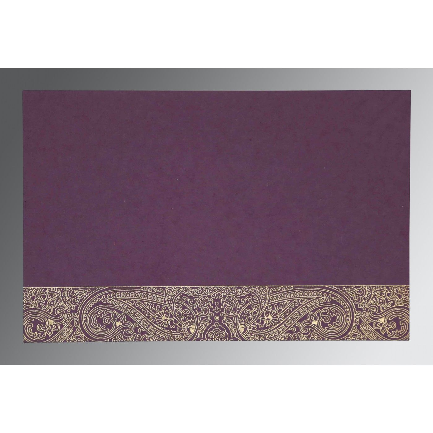 PURPLE HANDMADE COTTON EMBOSSED WEDDING CARD : CW-8234D - IndianWeddingCards