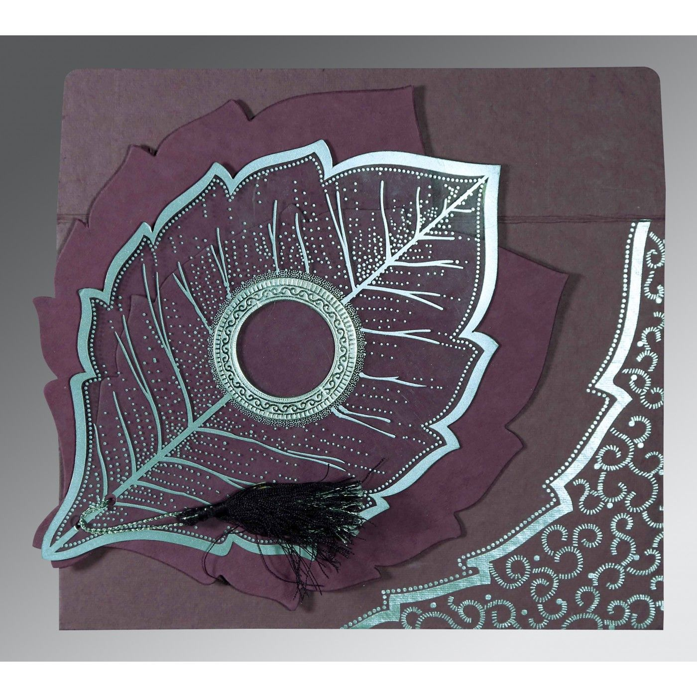 PURPLE HANDMADE COTTON FLORAL THEMED - FOIL STAMPED WEDDING CARD : CS-8219O - IndianWeddingCards