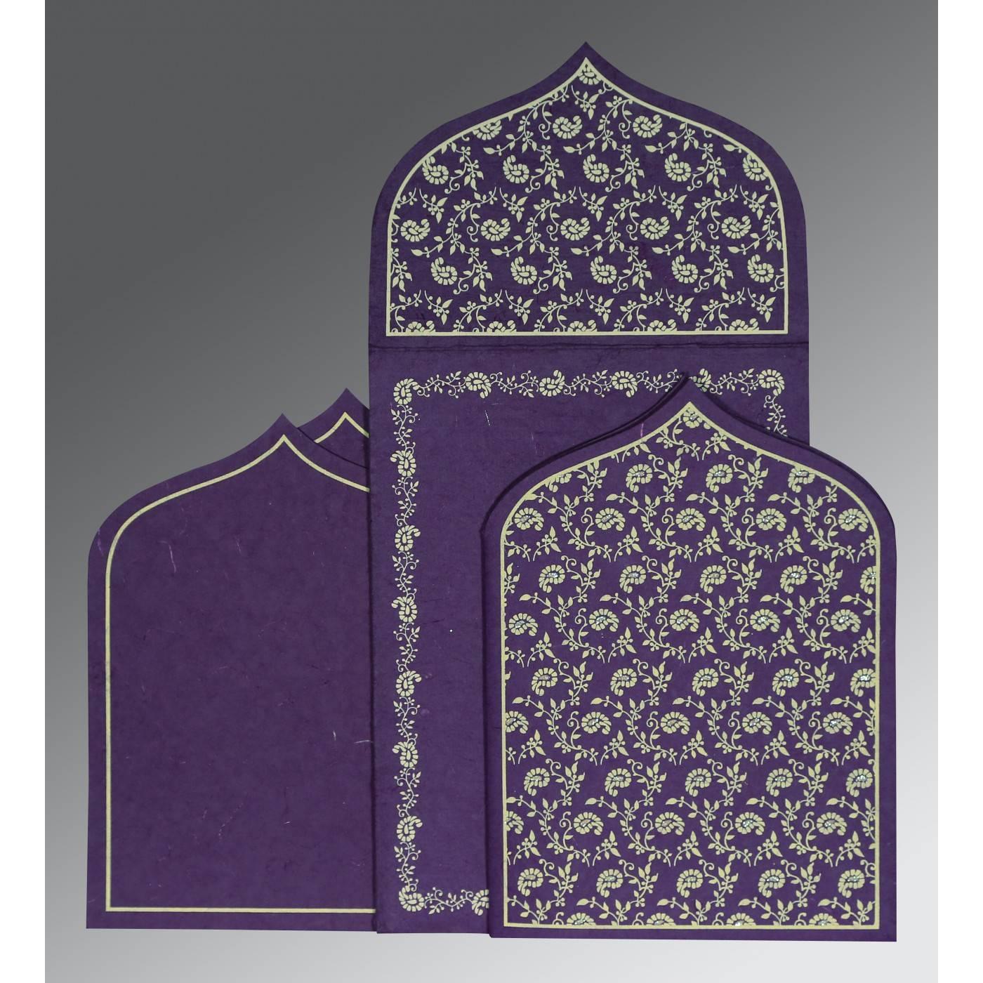 BLUE PURPLE HANDMADE SILK PAISLEY THEMED - GLITTER WEDDING INVITATION : CG-8208M - IndianWeddingCards