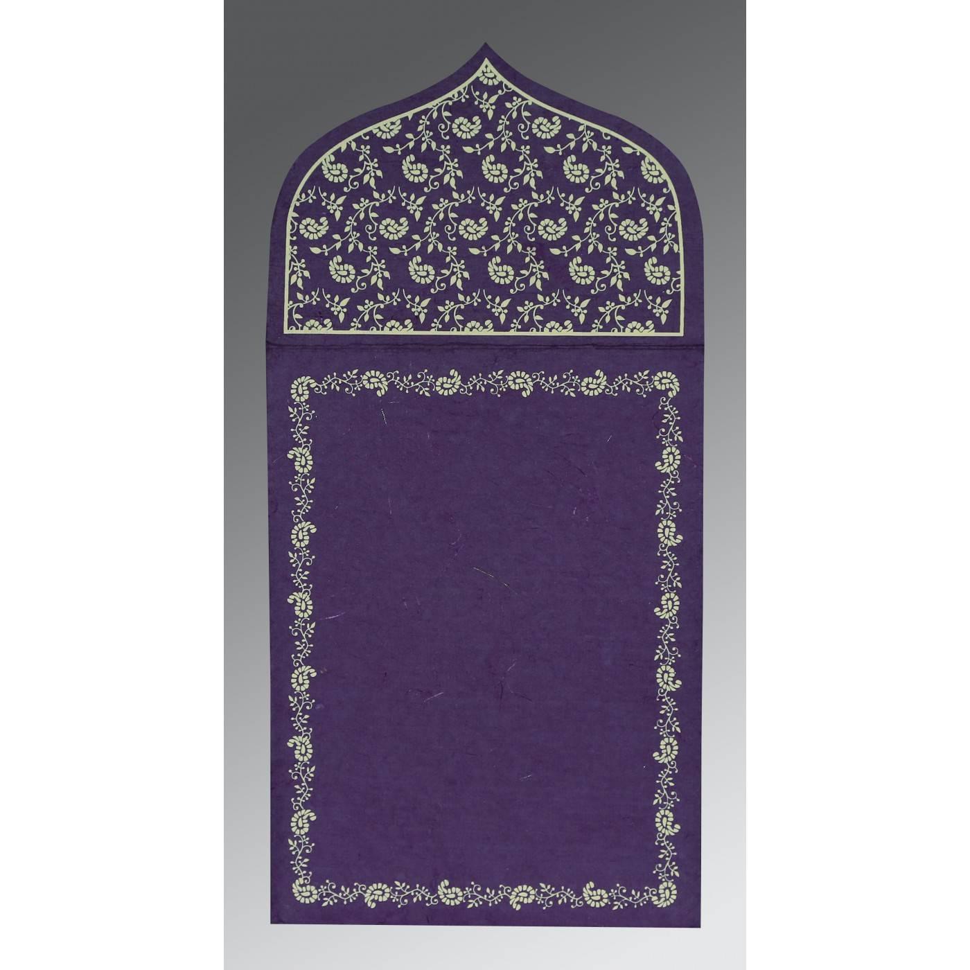 BLUE PURPLE HANDMADE SILK PAISLEY THEMED - GLITTER WEDDING INVITATION : CIN-8208M - IndianWeddingCards