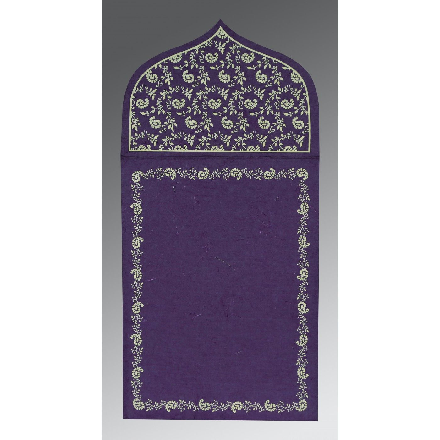 BLUE PURPLE HANDMADE SILK PAISLEY THEMED - GLITTER WEDDING INVITATION : CW-8208M - IndianWeddingCards