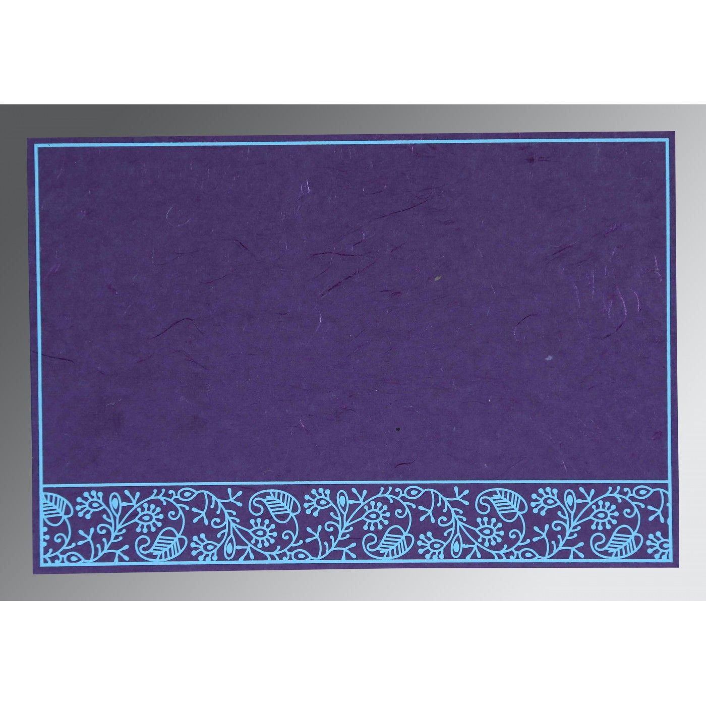 PURPLE HANDMADE SILK SCREEN PRINTED WEDDING CARD : CG-8215G - IndianWeddingCards