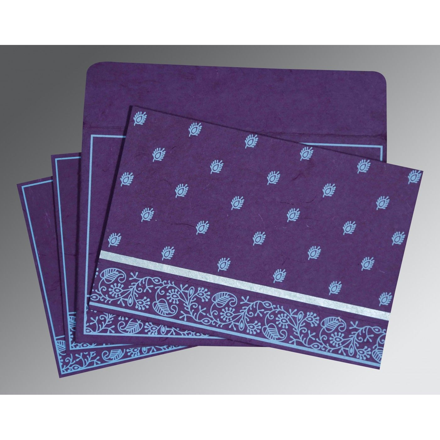PURPLE HANDMADE SILK SCREEN PRINTED WEDDING CARD : CI-8215G - IndianWeddingCards
