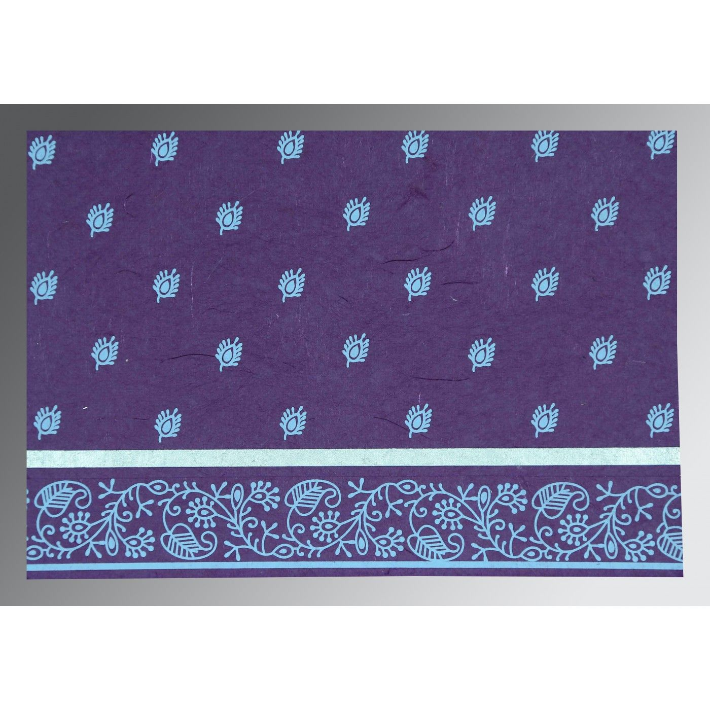 PURPLE HANDMADE SILK SCREEN PRINTED WEDDING CARD : C-IN-8215G - IndianWeddingCards