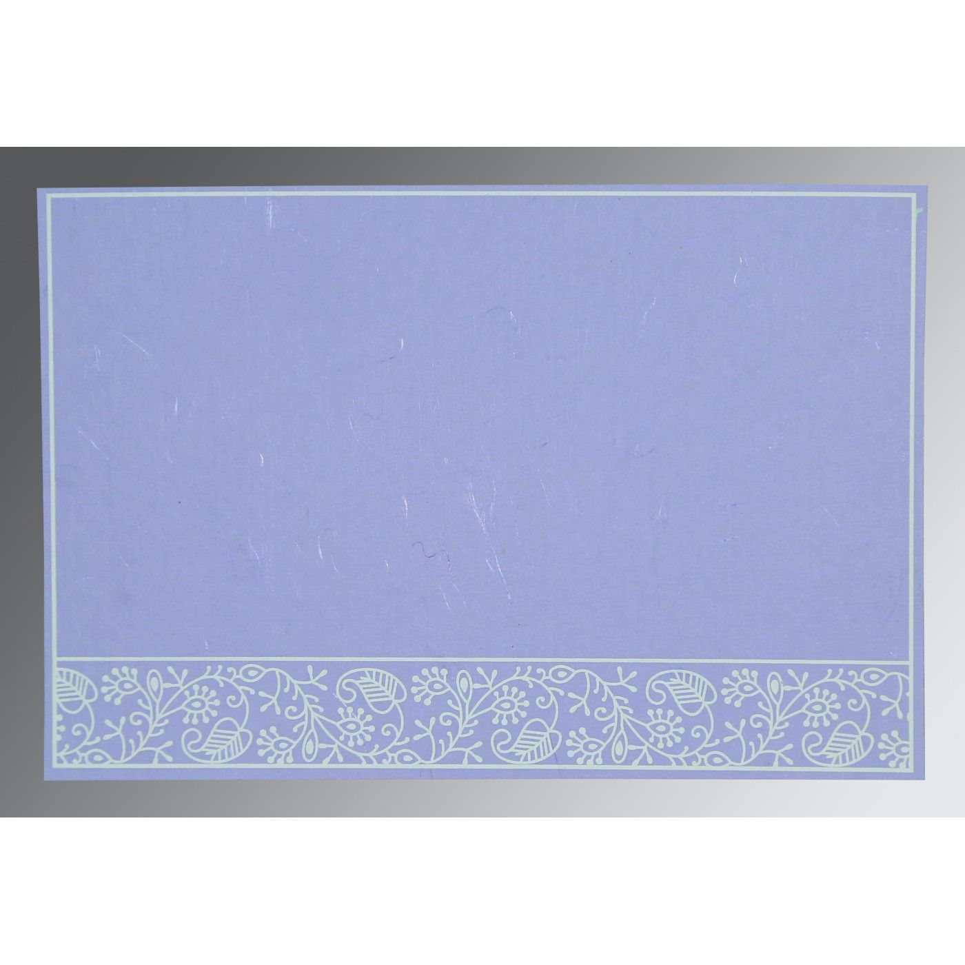 LAVENDER PURPLE HANDMADE SILK SCREEN PRINTED WEDDING CARD : CRU-8215B - IndianWeddingCards