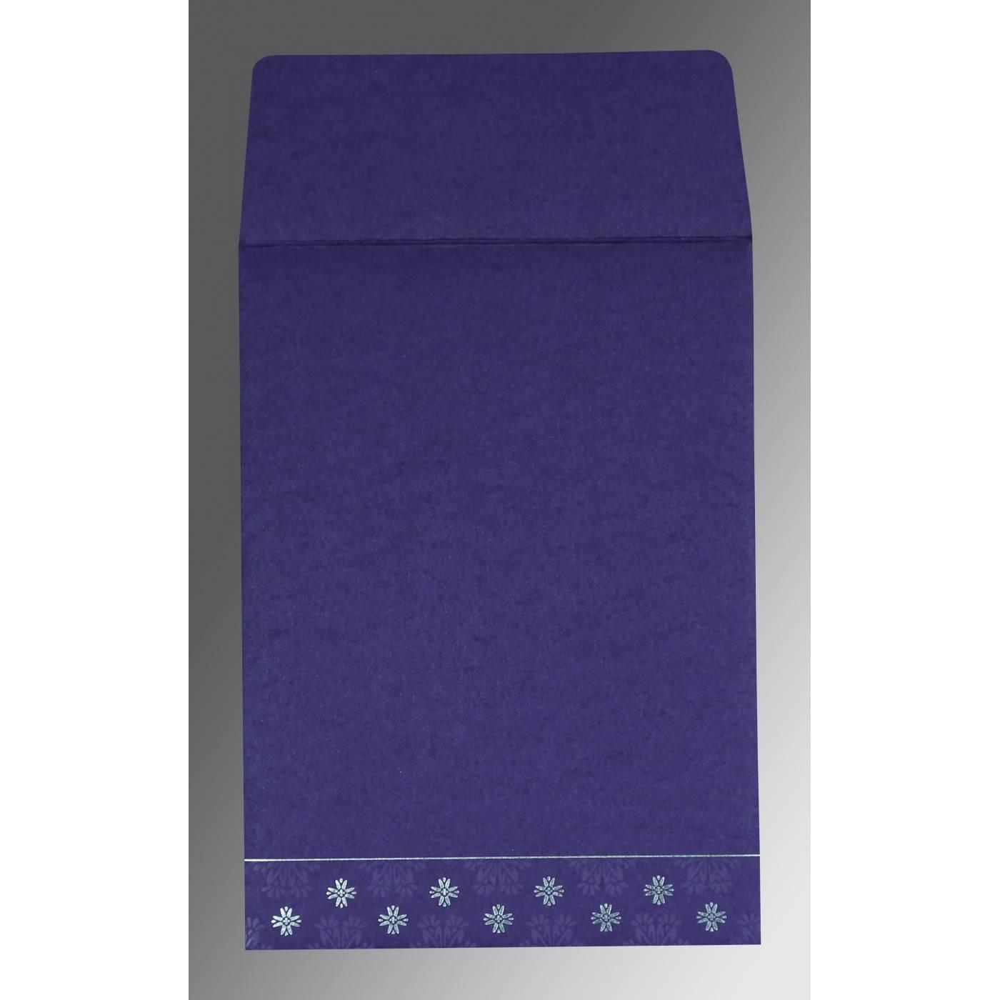 PURPLE MATTE FLORAL THEMED - FOIL STAMPED WEDDING INVITATION : CRU-8237A - IndianWeddingCards
