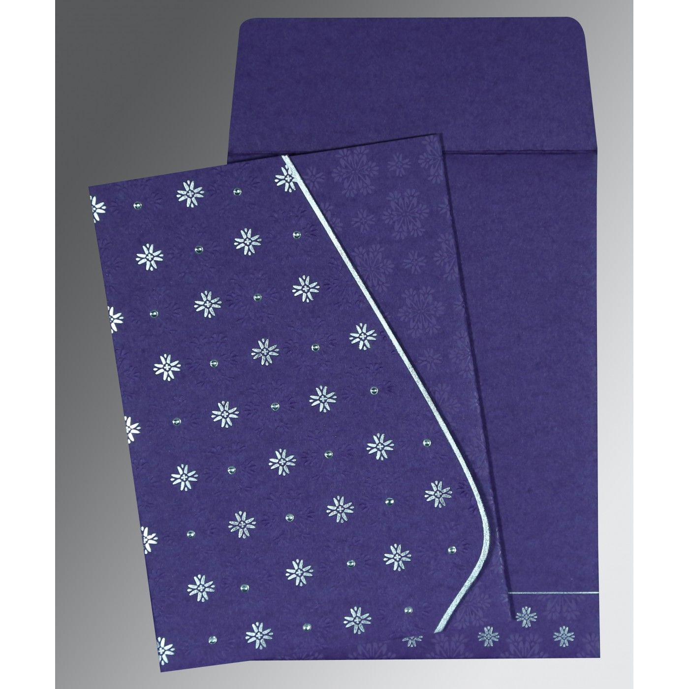 PURPLE MATTE FLORAL THEMED - FOIL STAMPED WEDDING INVITATION : CS-8237A - IndianWeddingCards