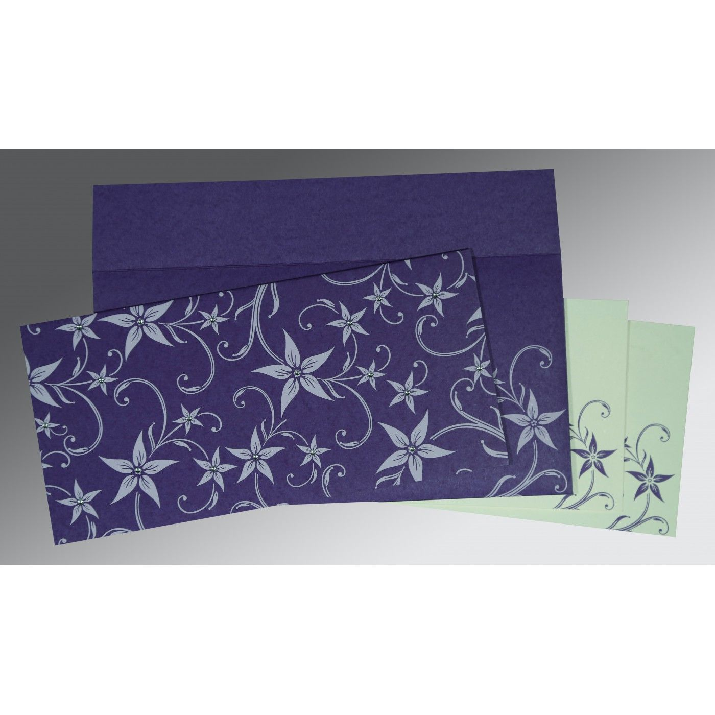 DARK PURPLE MATTE FLORAL THEMED - SCREEN PRINTED WEDDING INVITATION : CG-8225H - IndianWeddingCards