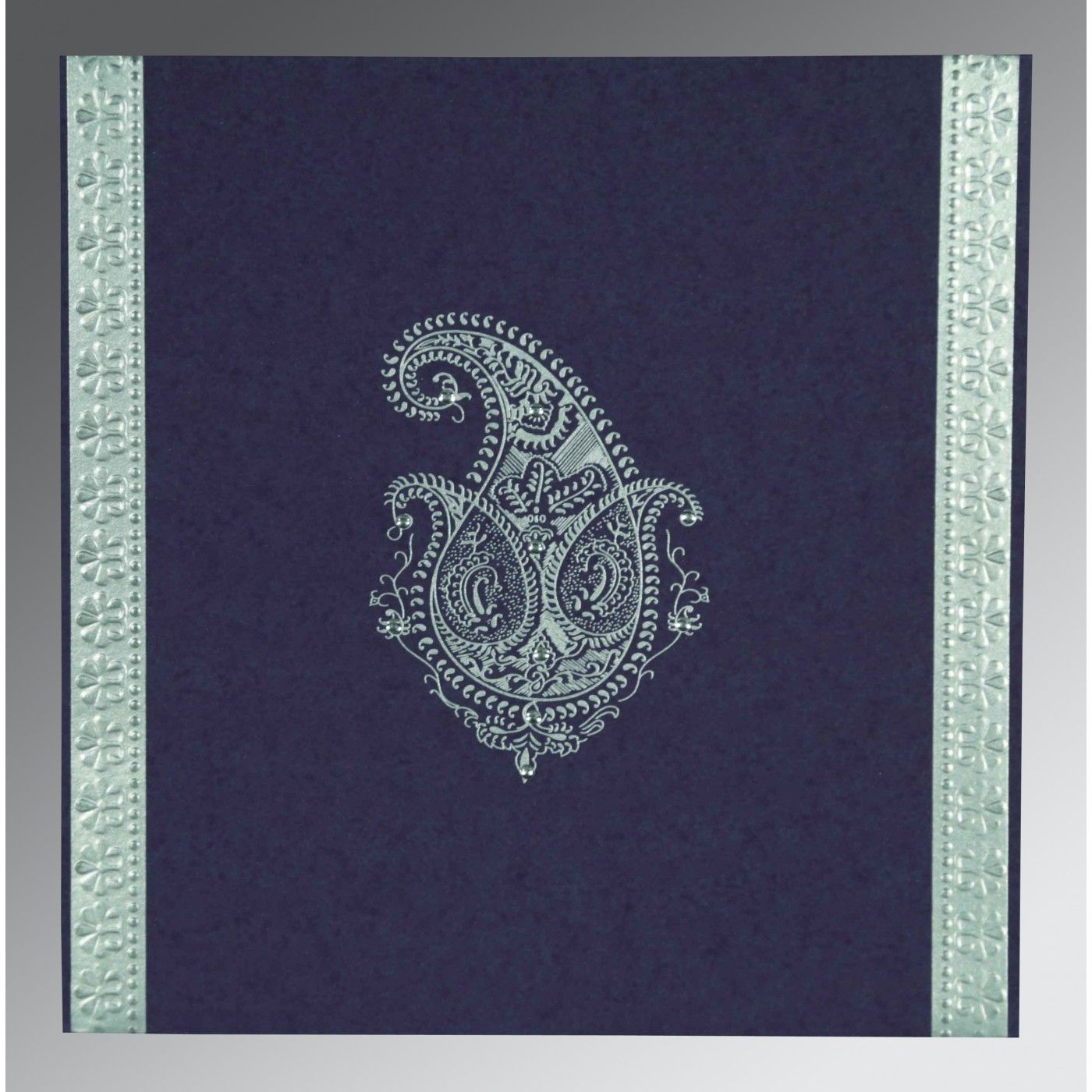 VIOLENT VIOLET MATTE PAISLEY THEMED - EMBOSSED WEDDING INVITATION : CS-8231K - IndianWeddingCards