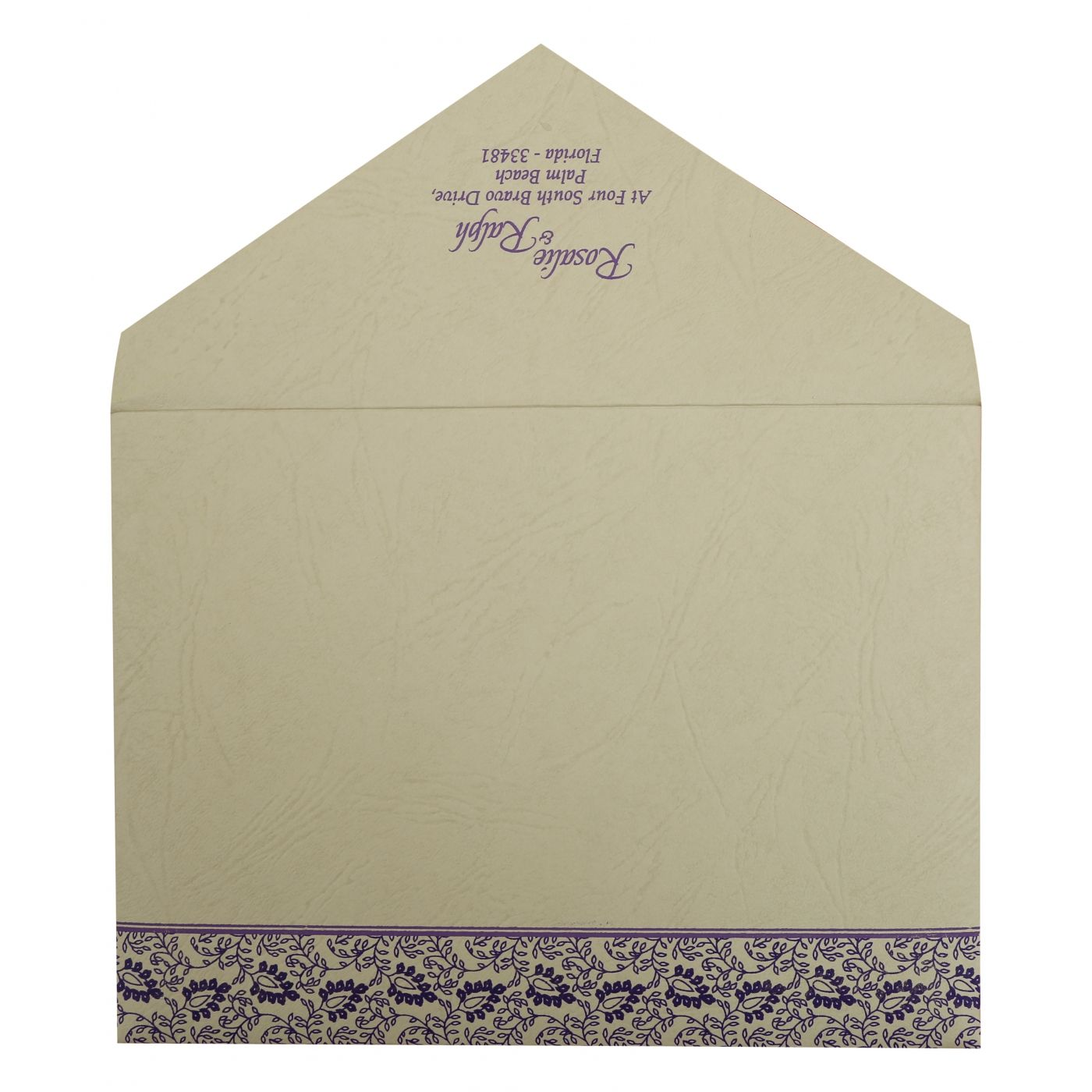PURPLE MATTE PAISLEY THEMED - SCREEN PRINTED WEDDING INVITATION : CI-811D - IndianWeddingCards