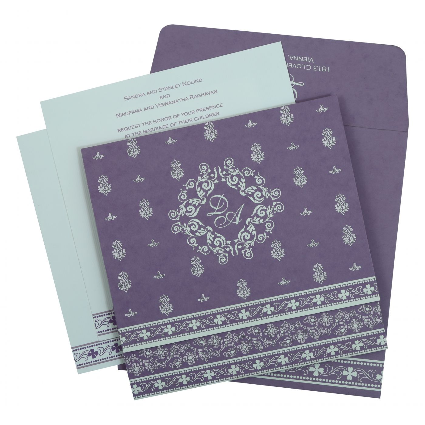 PURPLE MATTE SCREEN PRINTED WEDDING INVITATION : CIN-808E - IndianWeddingCards