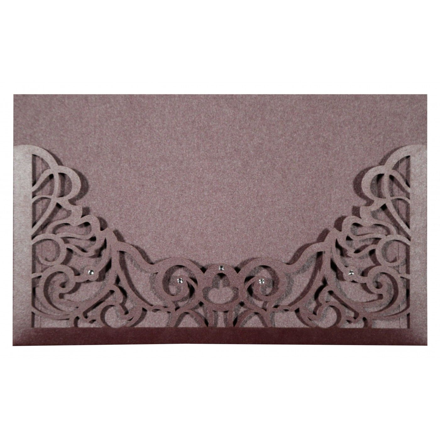 DESATURATED PINK SHIMMERY DAMASK THEMED - LASER CUT WEDDING CARD : CD-8262B - IndianWeddingCards
